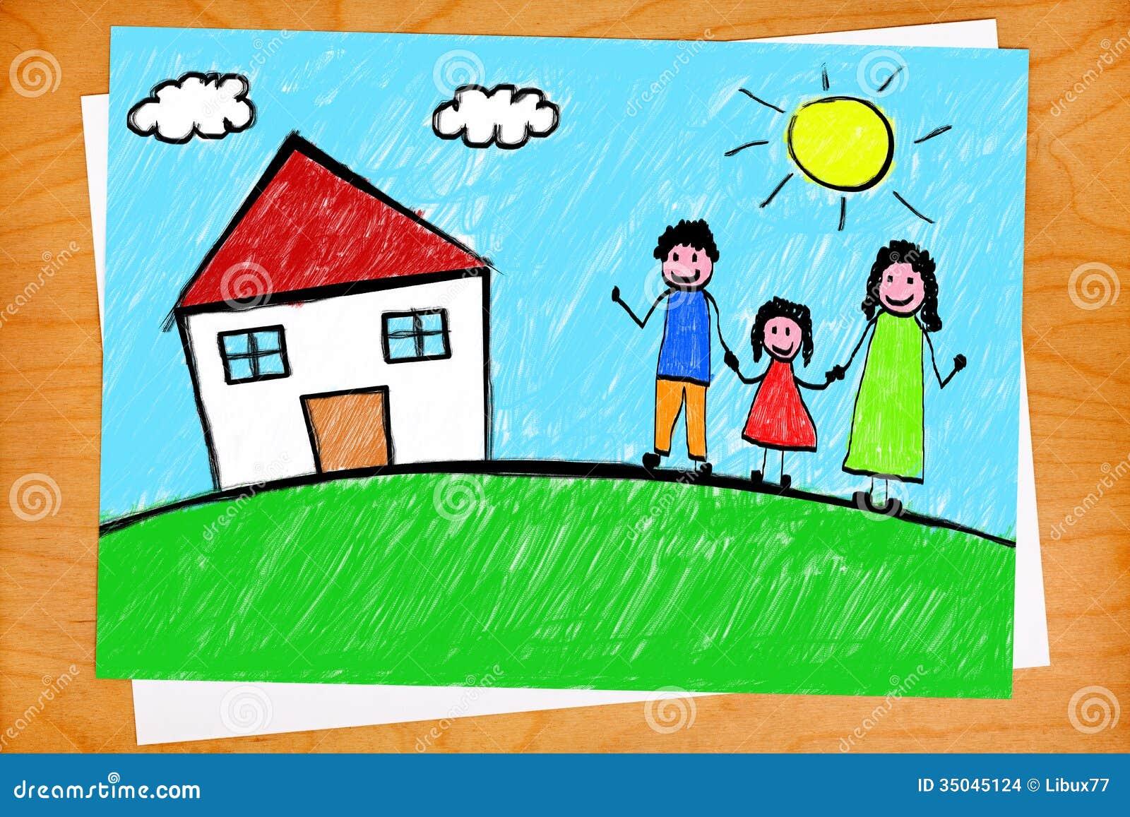 Dessin main lev e d 39 enfant de chambre de famille sur le - Dessin chambre d enfant ...