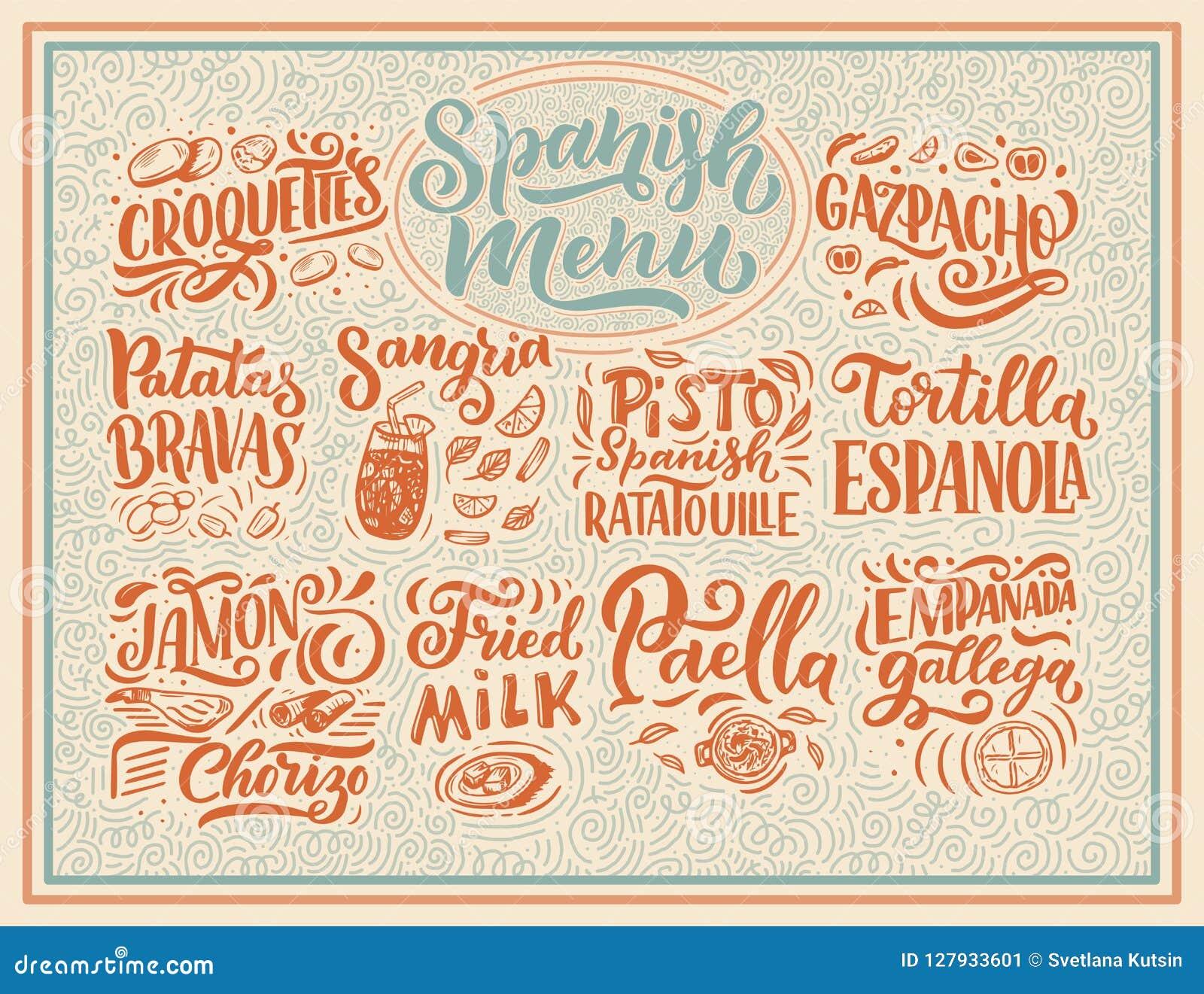 Dessin Avec La Main dessin à main levée de style de croquis de menu espagnol