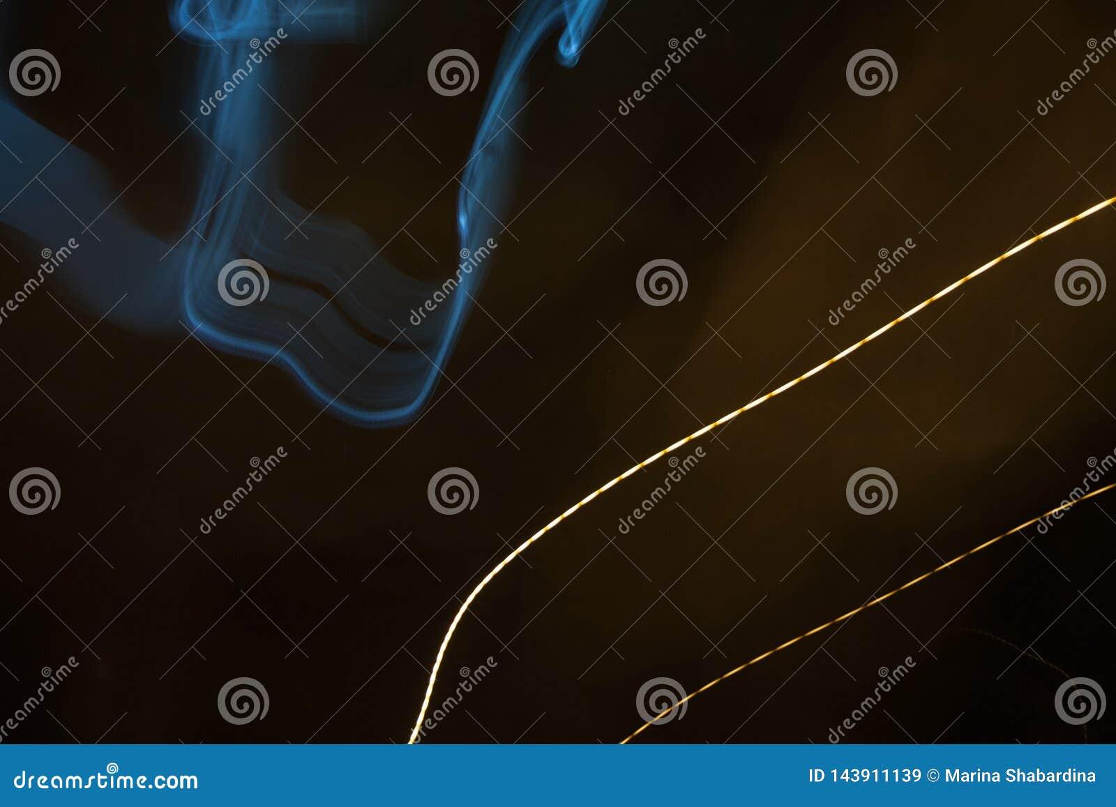 Dessin abstrait avec de la fumée et la ligne tirée