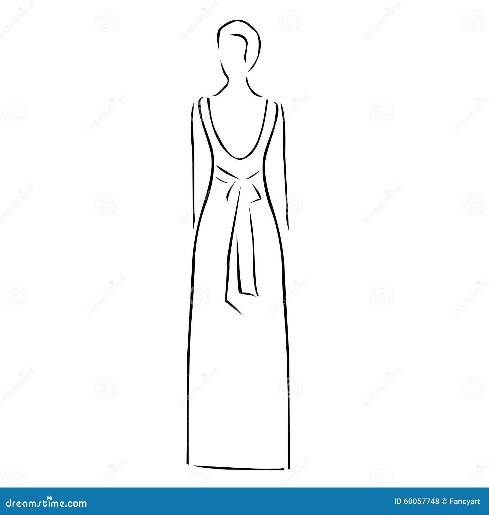 dessin abstrait d 39 une femme portant la robe sans dos illustration de vecteur image 60057748. Black Bedroom Furniture Sets. Home Design Ideas