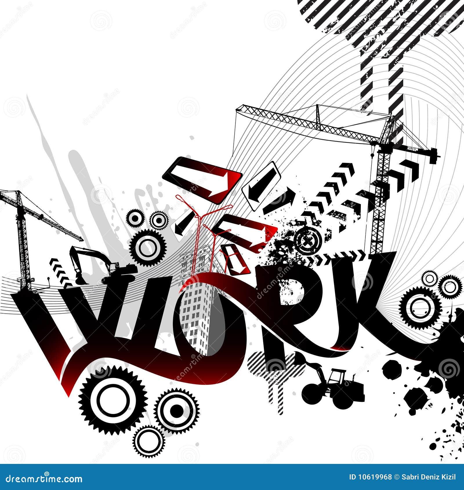 Dessin abstrait de travail illustration de vecteur - Dessin travail ...