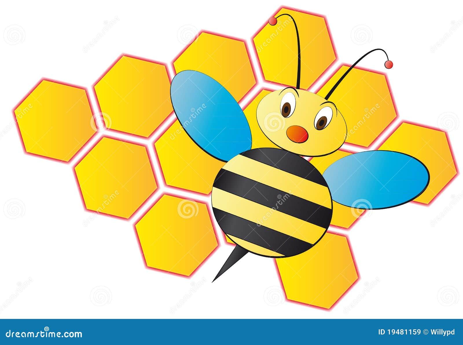 Dessin anim d 39 abeille avec la ruche images libres de - Dessin de ruche d abeille ...