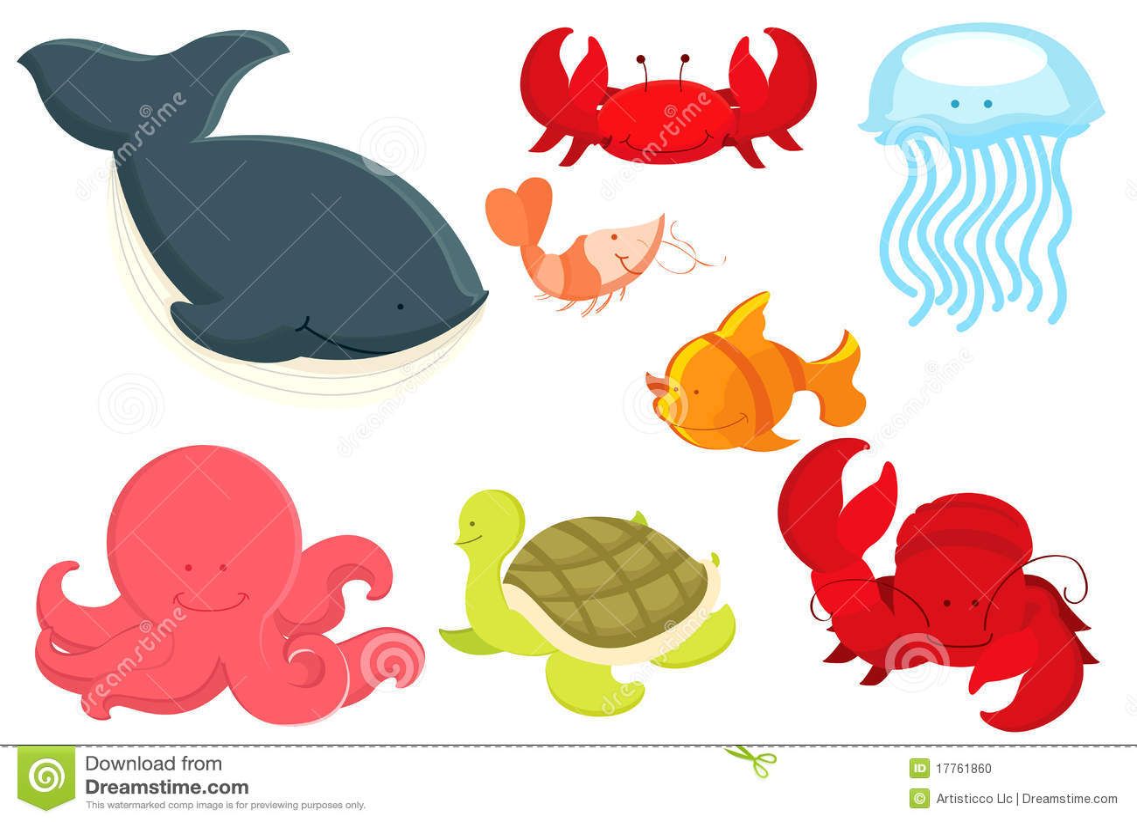 Dessin anim d 39 animaux marins photo stock image 17761860 - Dessin d animaux marins ...