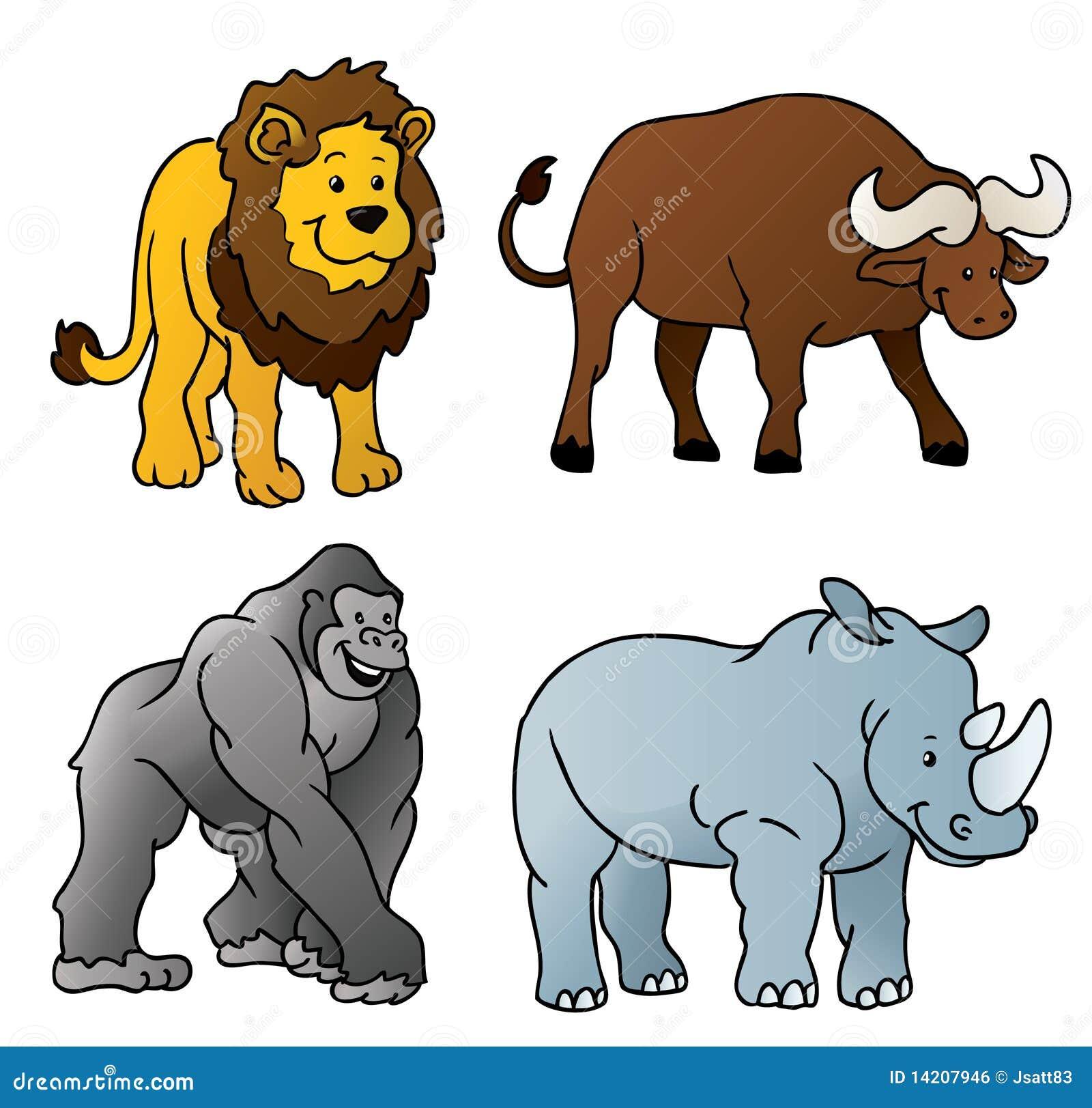 Dessin anim d 39 animaux sauvages image libre de droits - Dessin animaux sauvages ...