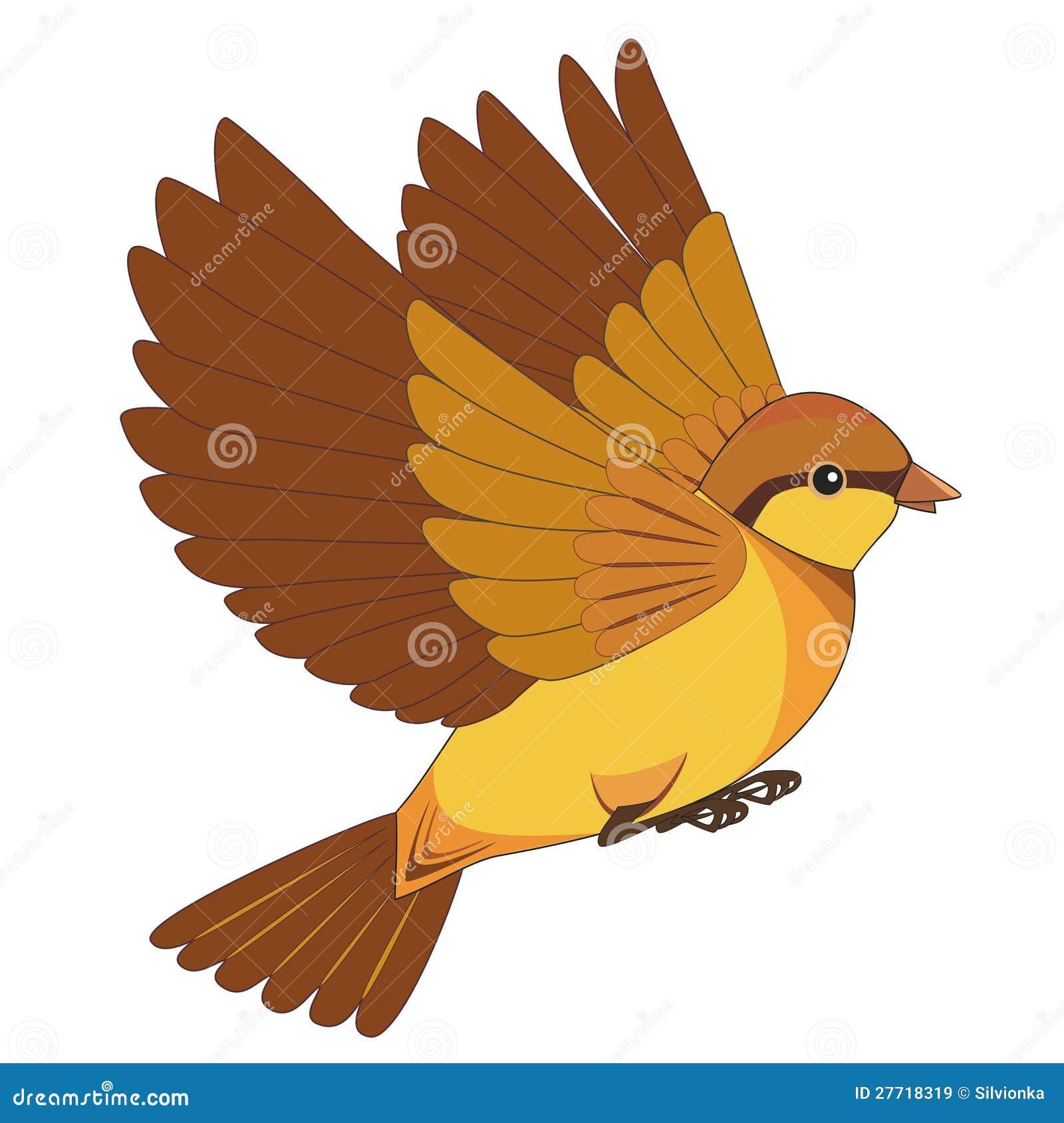 Dessin anim d 39 oiseau de vol d 39 isolement sur un fond blanc - Dessin d oiseau ...