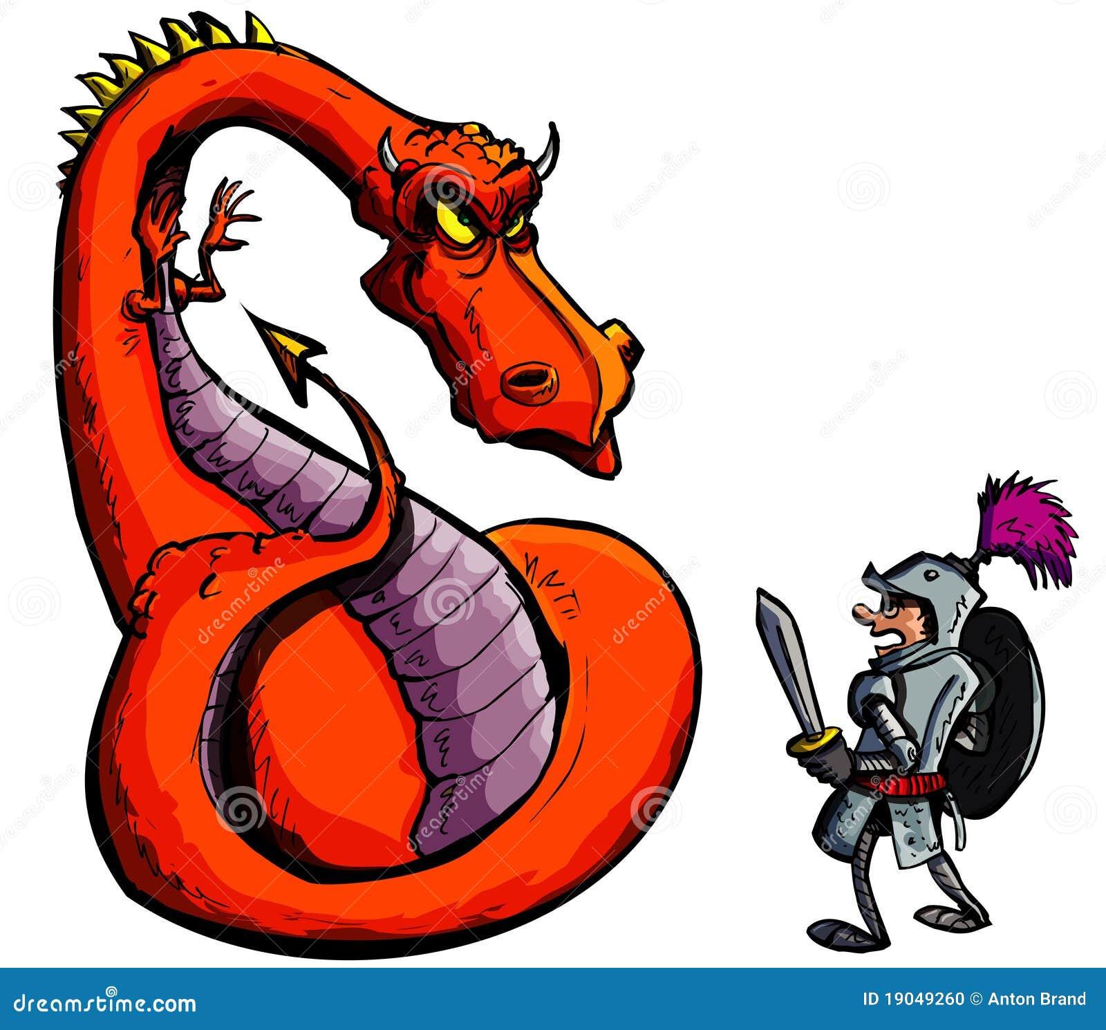 dessin anim d 39 un chevalier faisant face un dragon f roce photo stock image 19049260. Black Bedroom Furniture Sets. Home Design Ideas