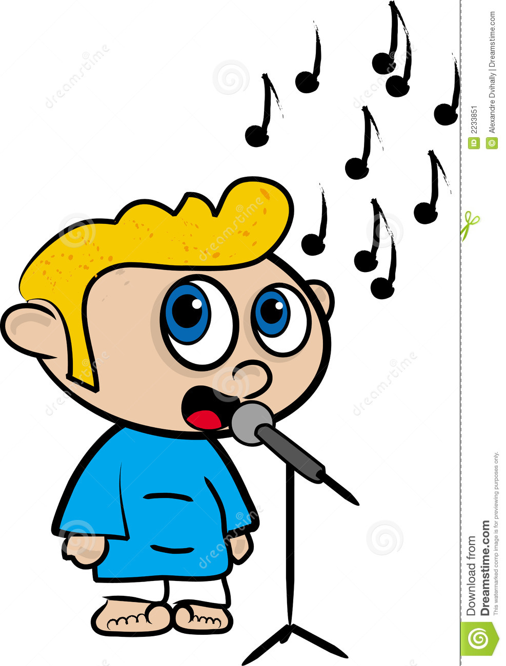 Dessin anim d 39 un gar on qui chante illustration stock - Dessin d un crapaud ...