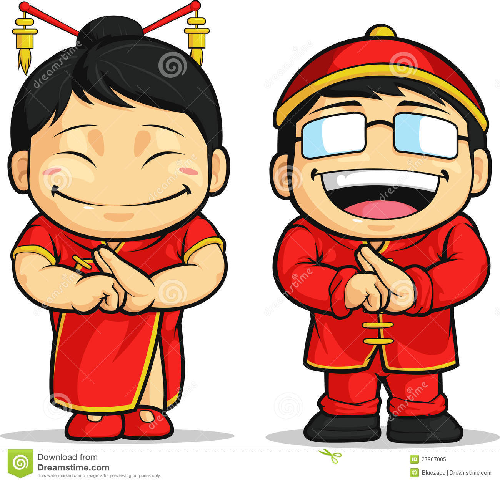 dessin anim de gar on et de fille chinois illustration de vecteur illustration du oriental. Black Bedroom Furniture Sets. Home Design Ideas