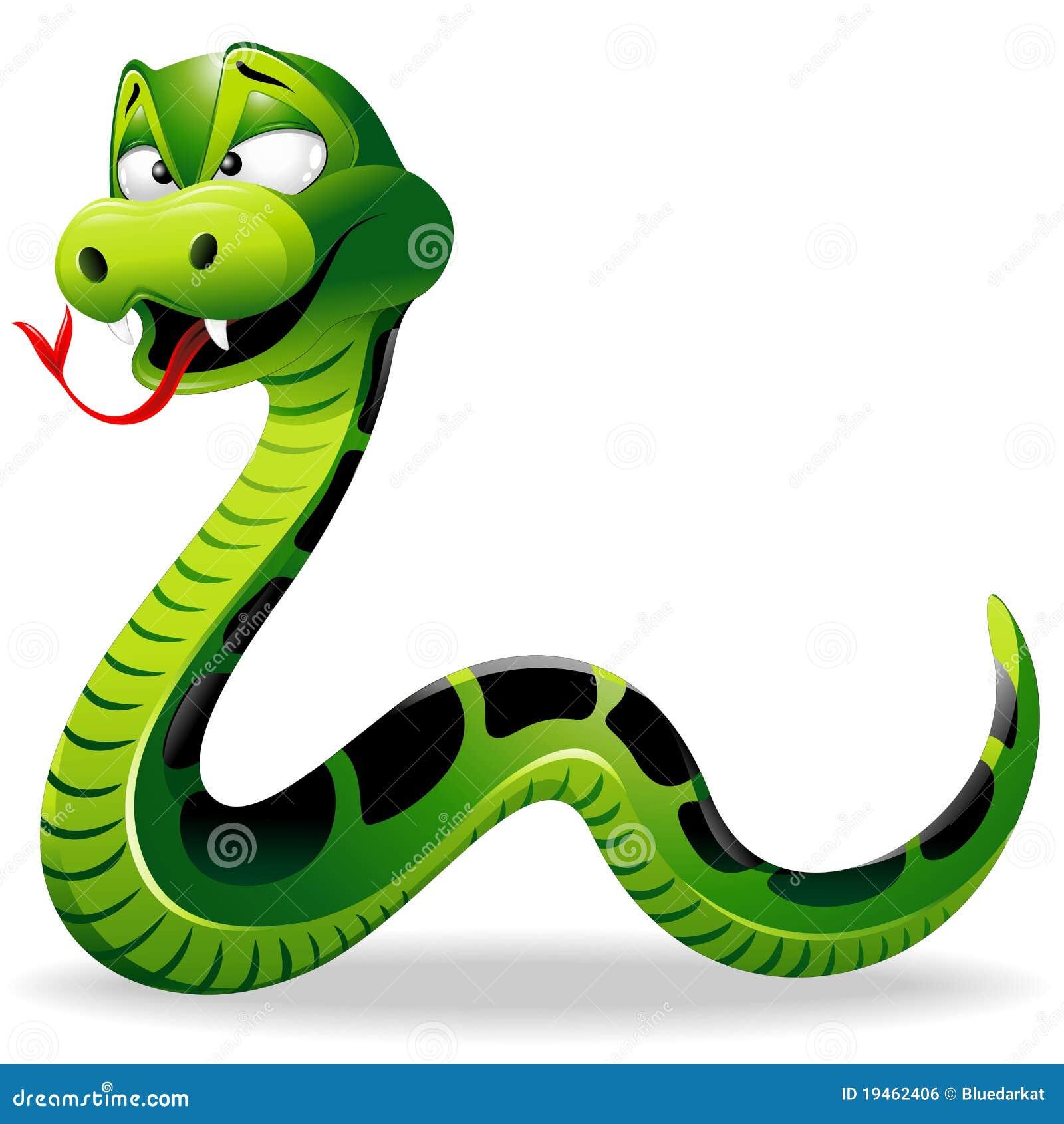 Dessin Animé Serpent dessin animé de serpent vert illustration de vecteur - illustration