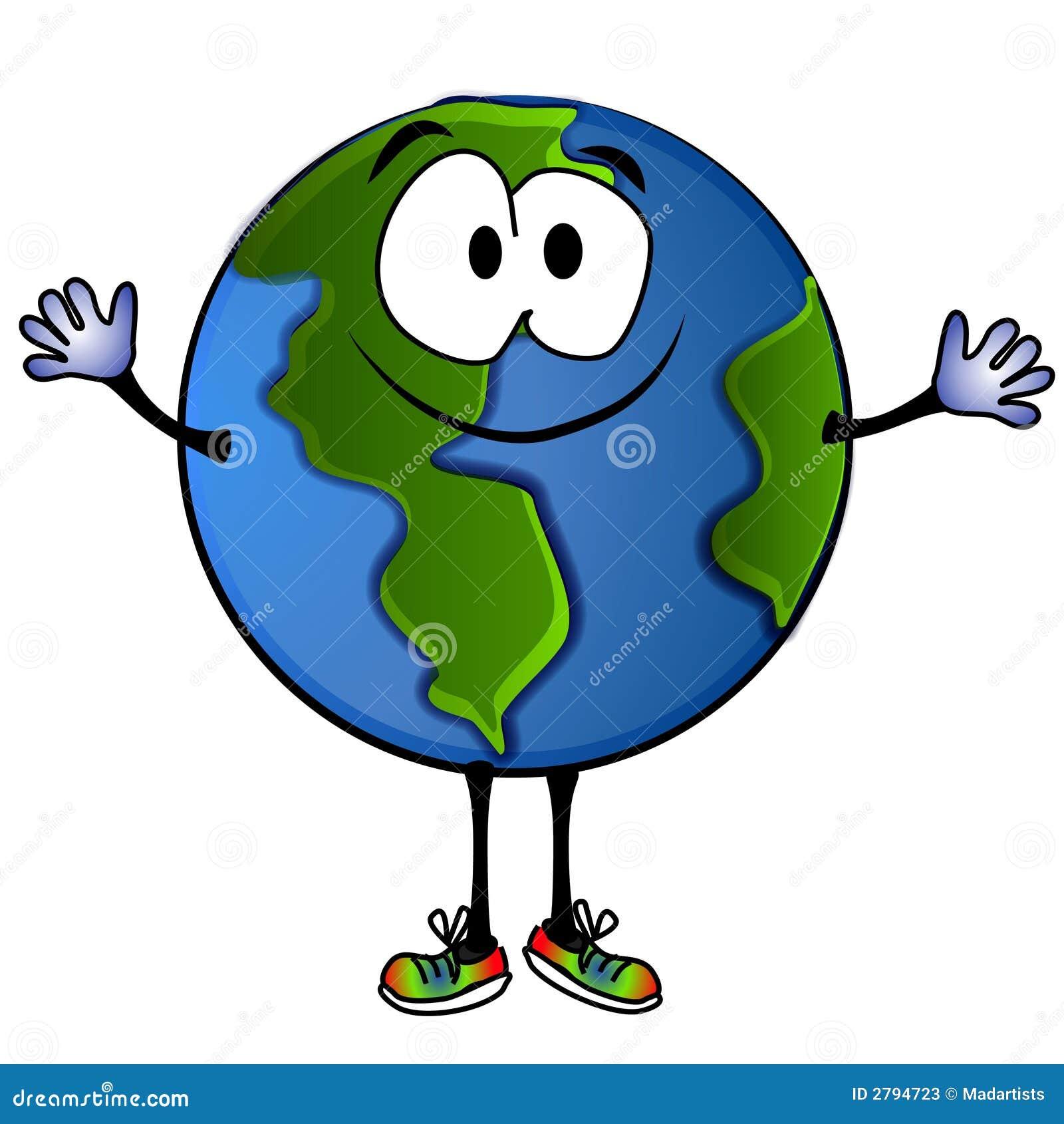 Dessin Animé De Sourire 2 De La Terre De Planète Illustration Stock