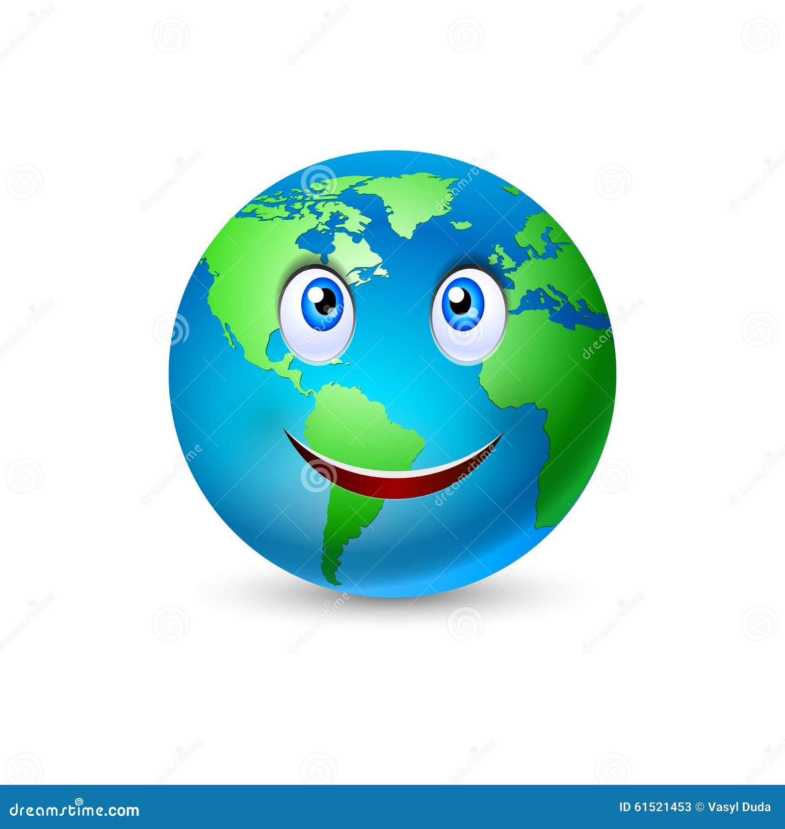 Dessin Animé De Sourire 2 De La Terre De Planète Illustration De