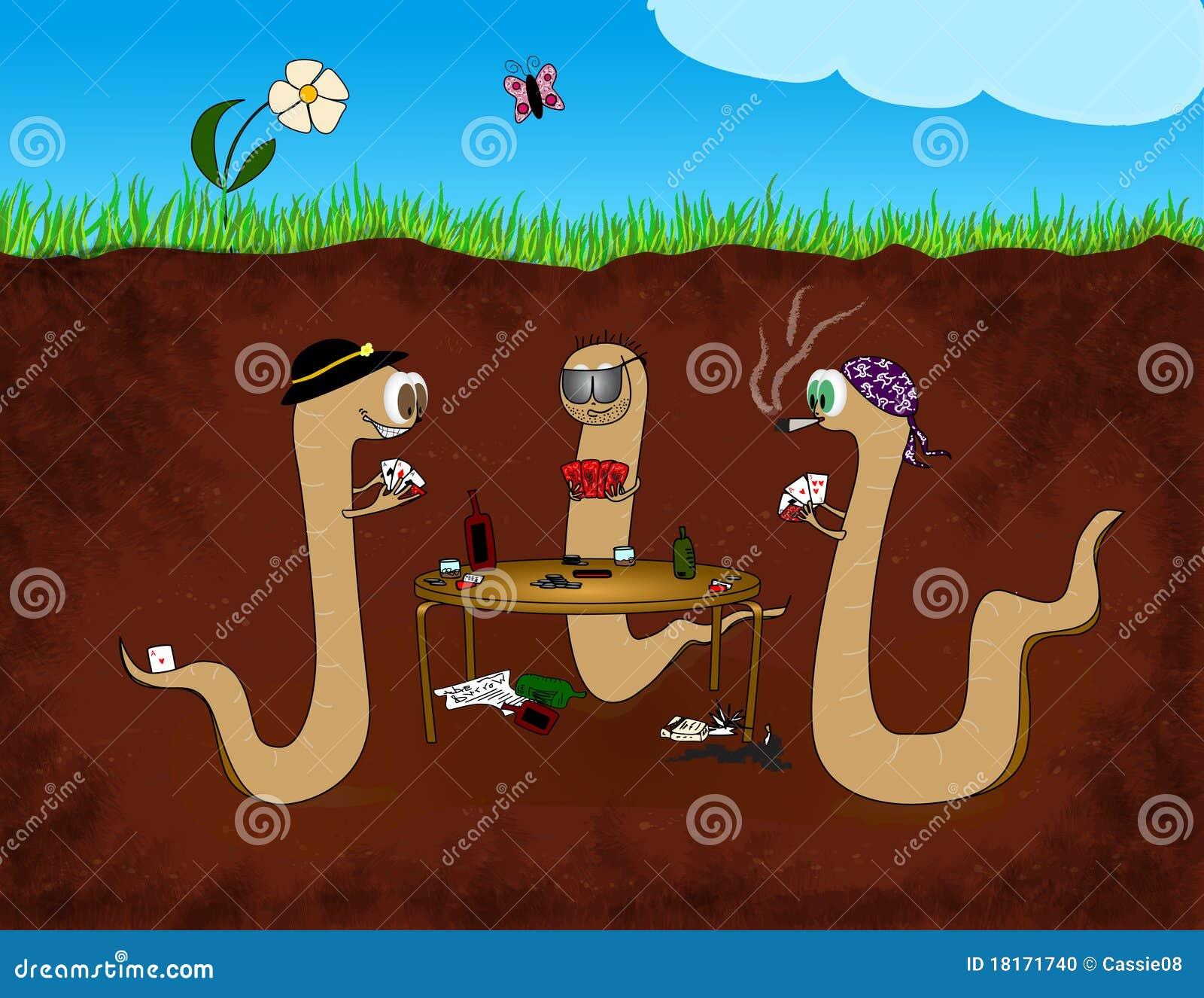 Dessin anim de tisonnier de ver de terre illustration stock illustration du v g tation - Dessin de ver de terre ...