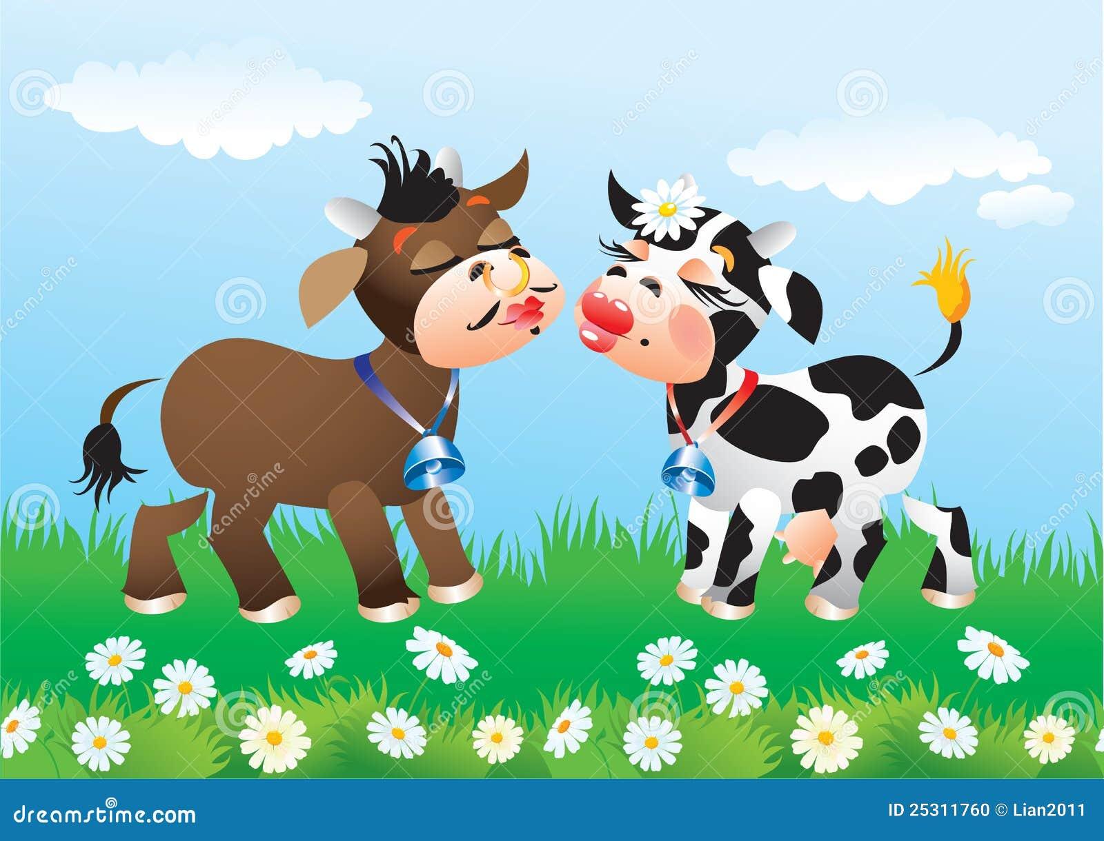 Dessin anim embrassant des vaches dans l 39 amour illustration de vecteur illustration du dessin - Dessin de l amour ...