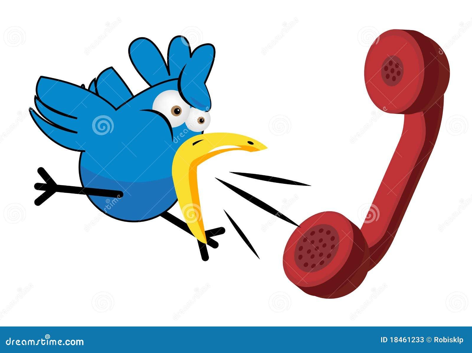 Dessin Animé Et Téléphone D'oiseau Photos Stock