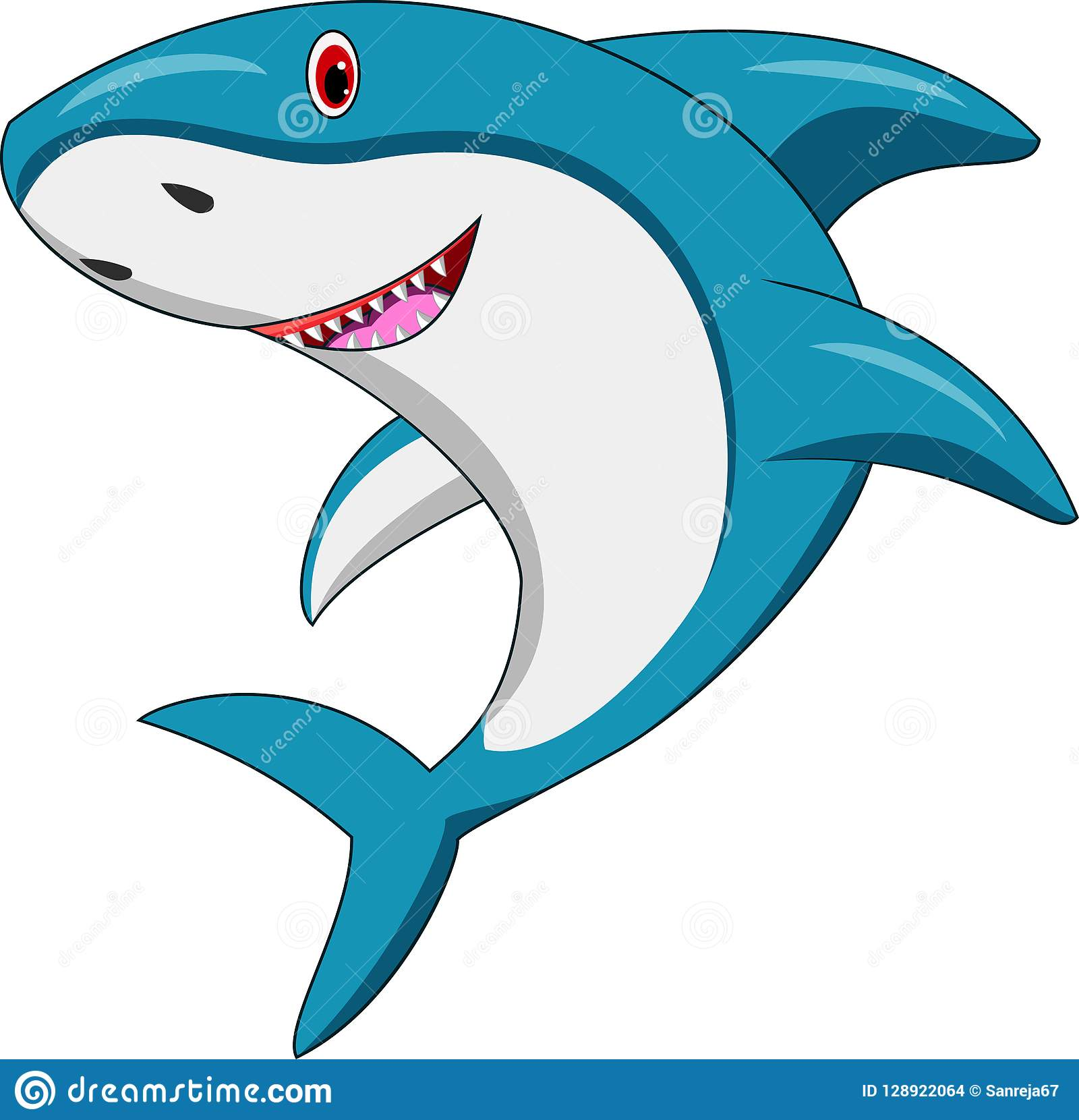 Dessin animé heureux de requin