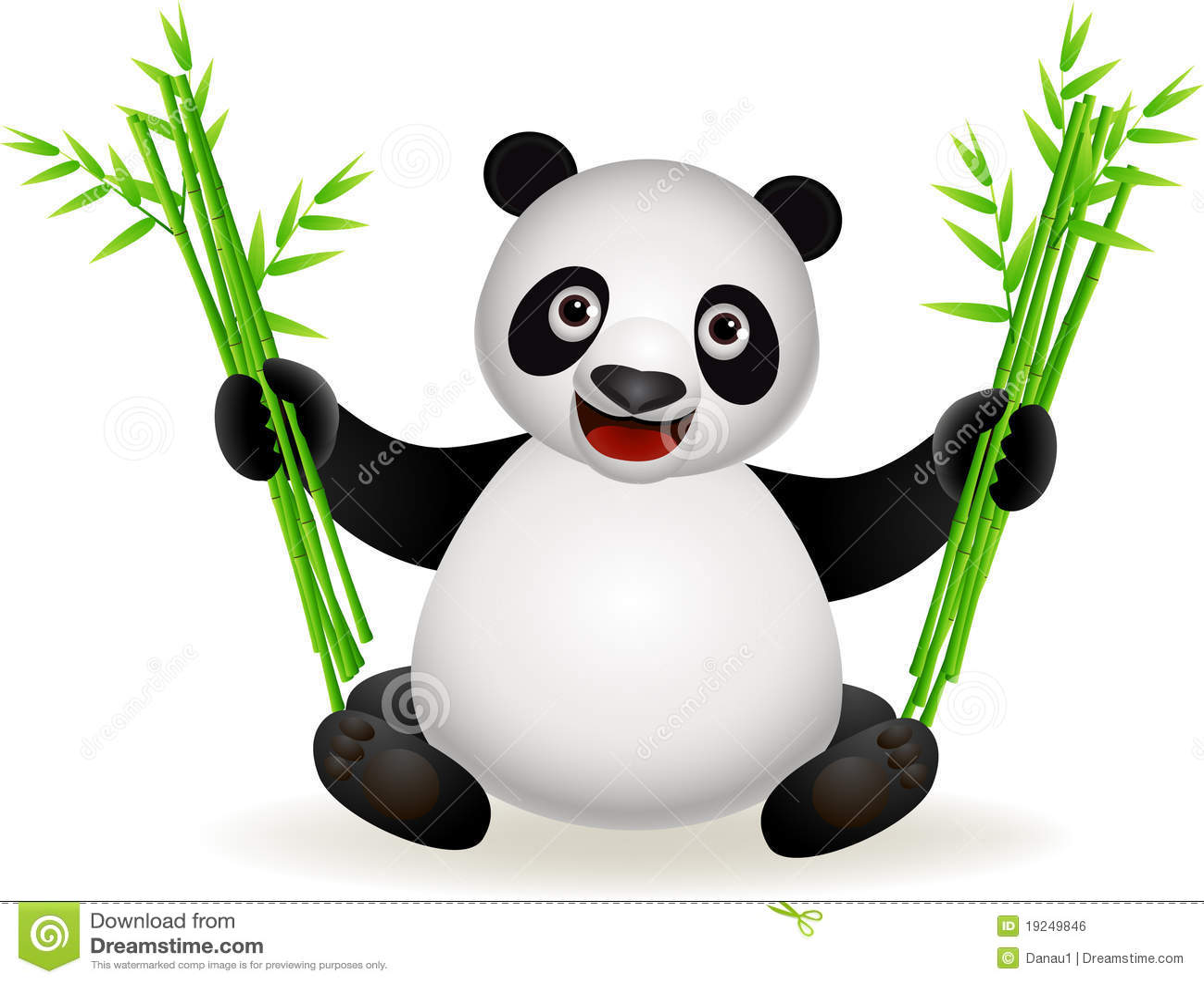 Dessin anim mignon de panda avec le bambou illustration - Dessins de panda ...