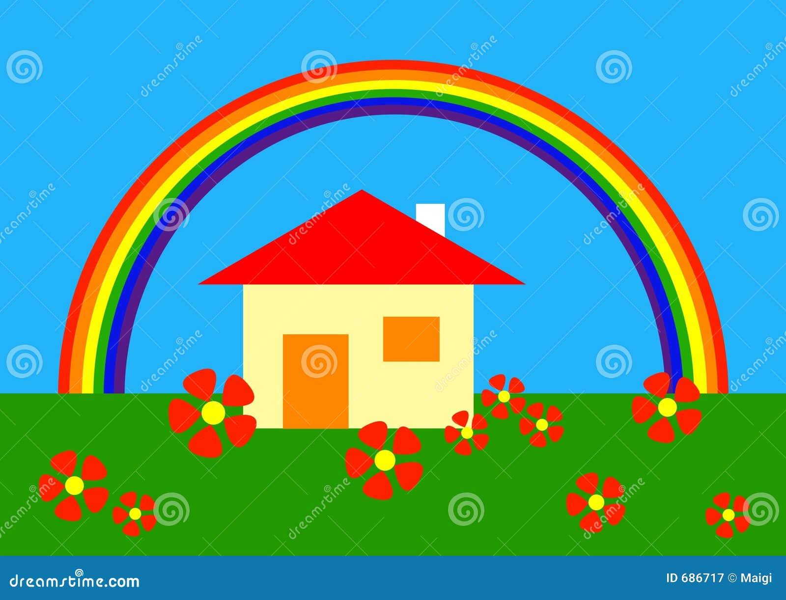 Dessin anim sous l 39 arc en ciel photographie stock libre for La maison arc en ciel