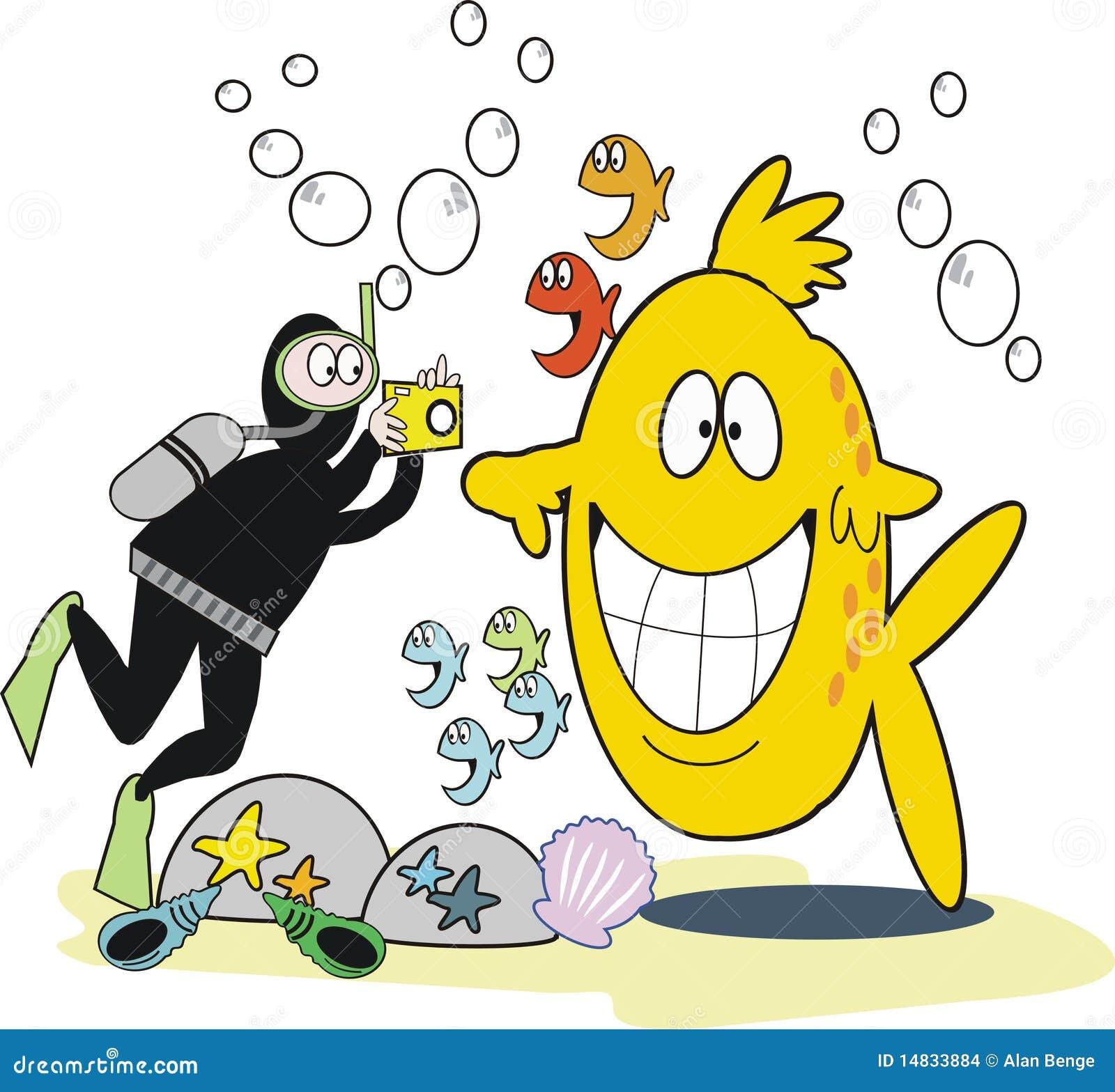 Dessin anim sous marin de photographie illustration de vecteur illustration du dents - Dessin plongeur ...