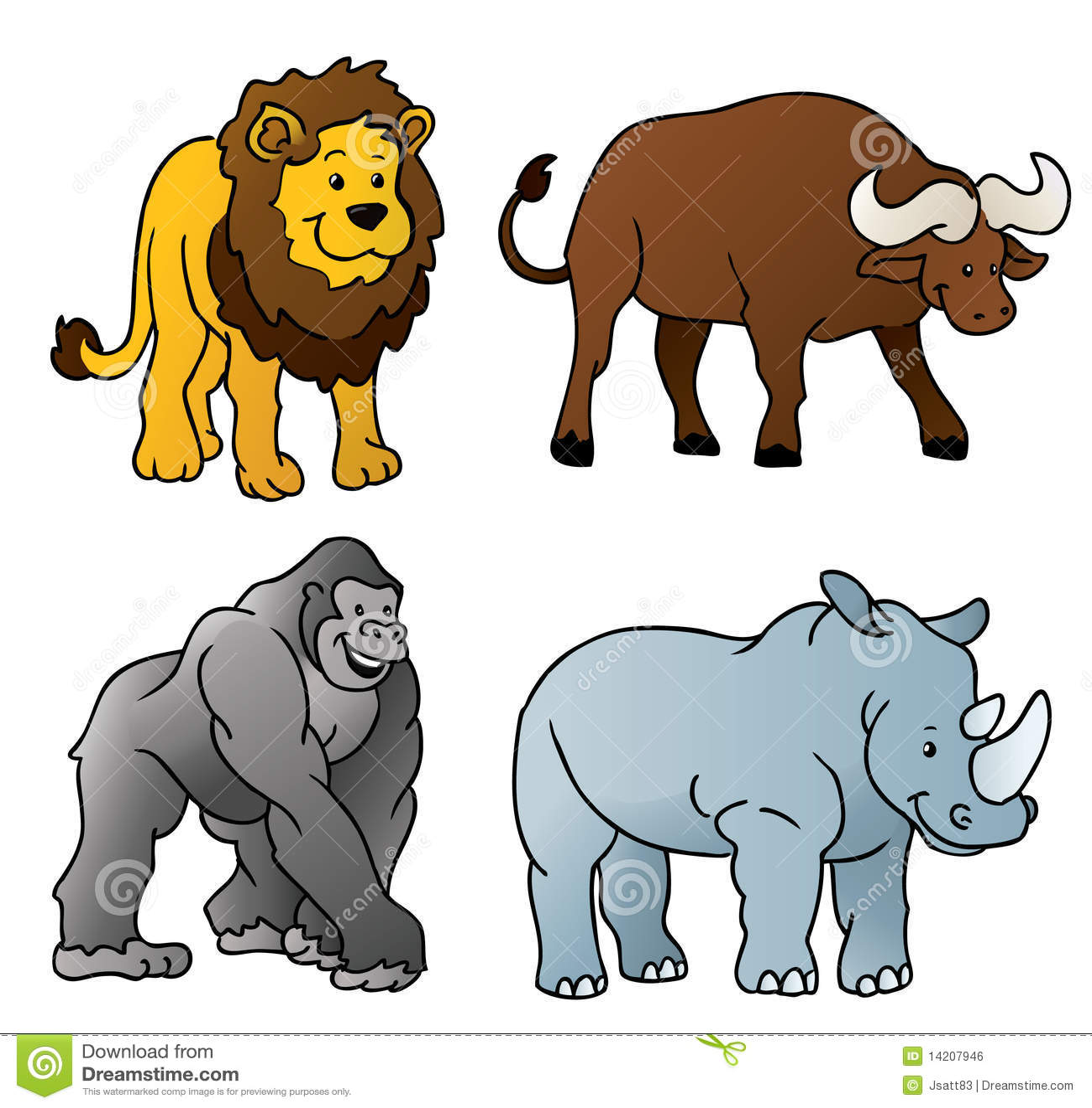 Dessin anim d 39 animaux sauvages image libre de droits - Dessins d animaux sauvages ...