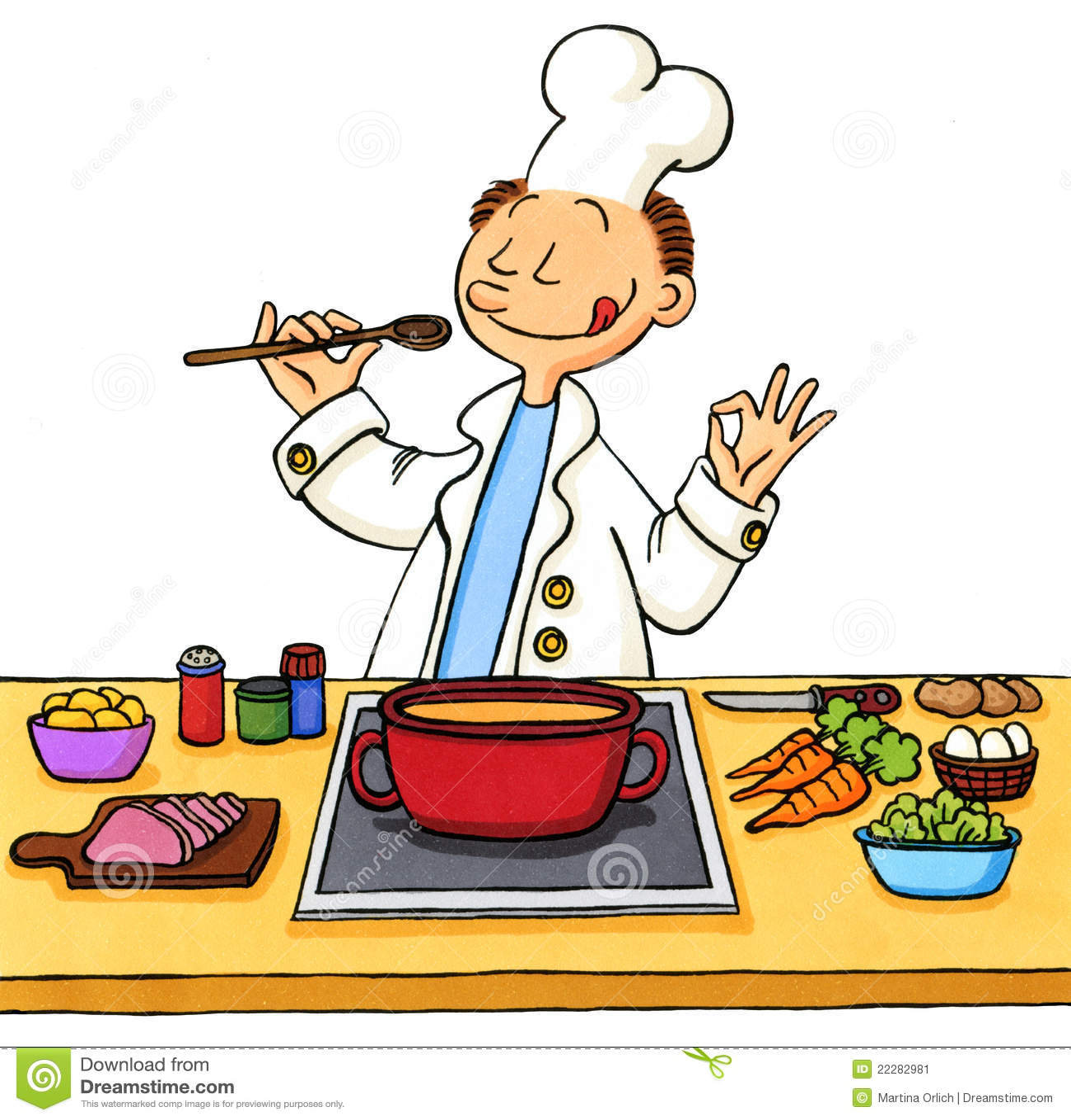 Dessin anim d 39 un cuisinier dans la cuisine image stock for Dessin cuisine