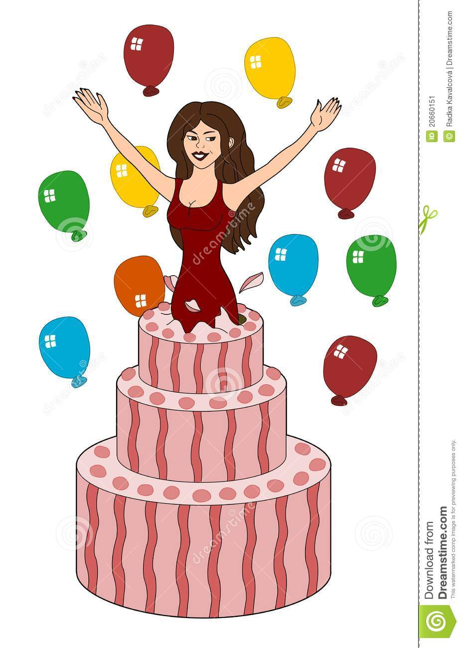 Girl Popping Out Of Cake Cartoon