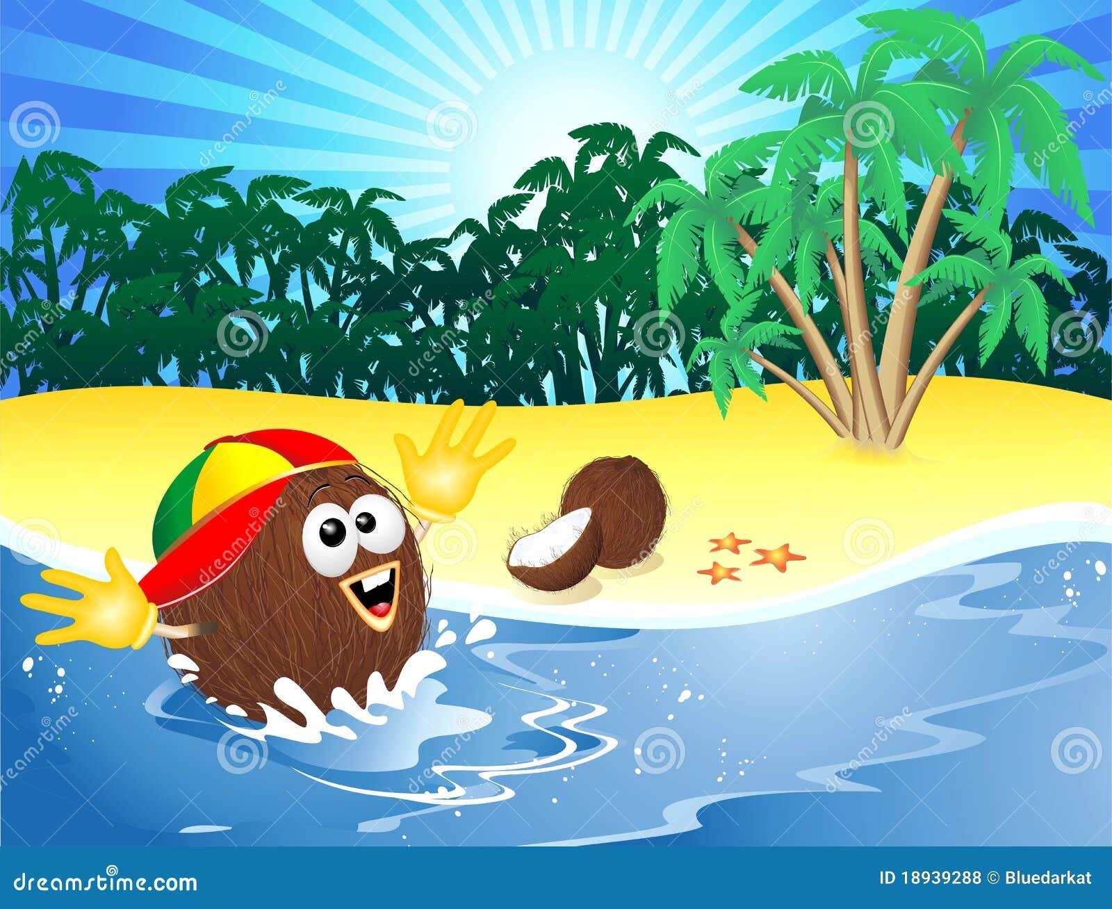 Dessin anim de noix de coco jouant sur la plage tropicale - Dessin noix de coco ...