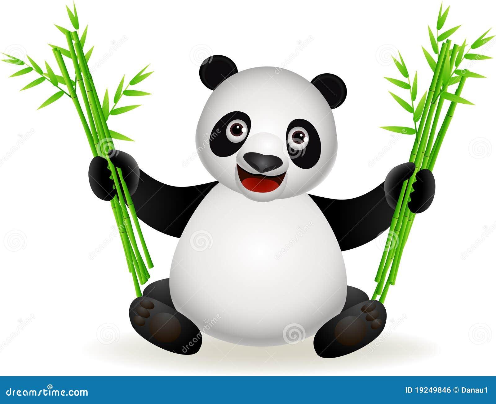 dessin anim mignon de panda avec le bambou image libre de droits image 19249846. Black Bedroom Furniture Sets. Home Design Ideas