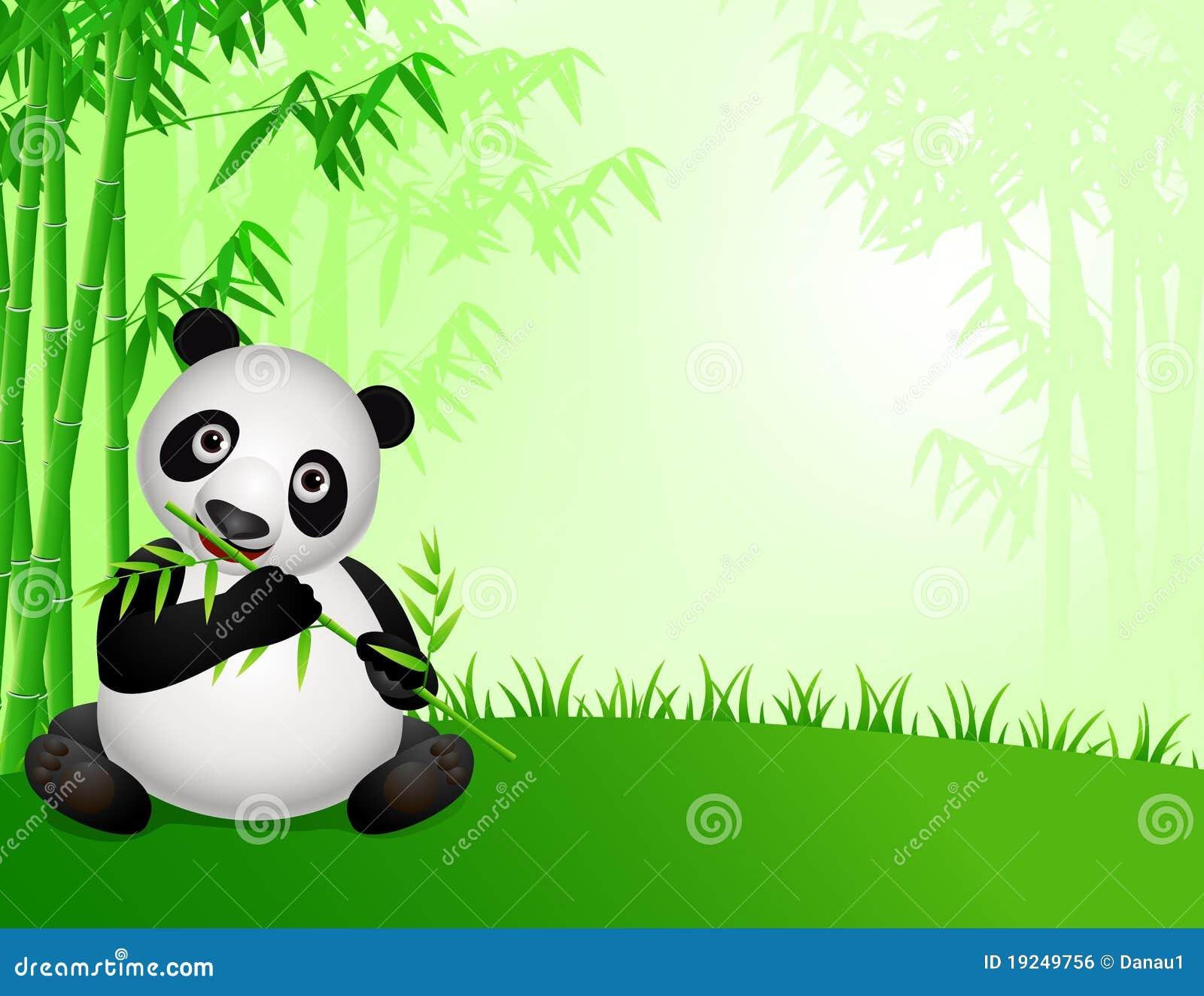 Dessin anim mignon de panda dans la nature image libre de - Dessin de nature ...