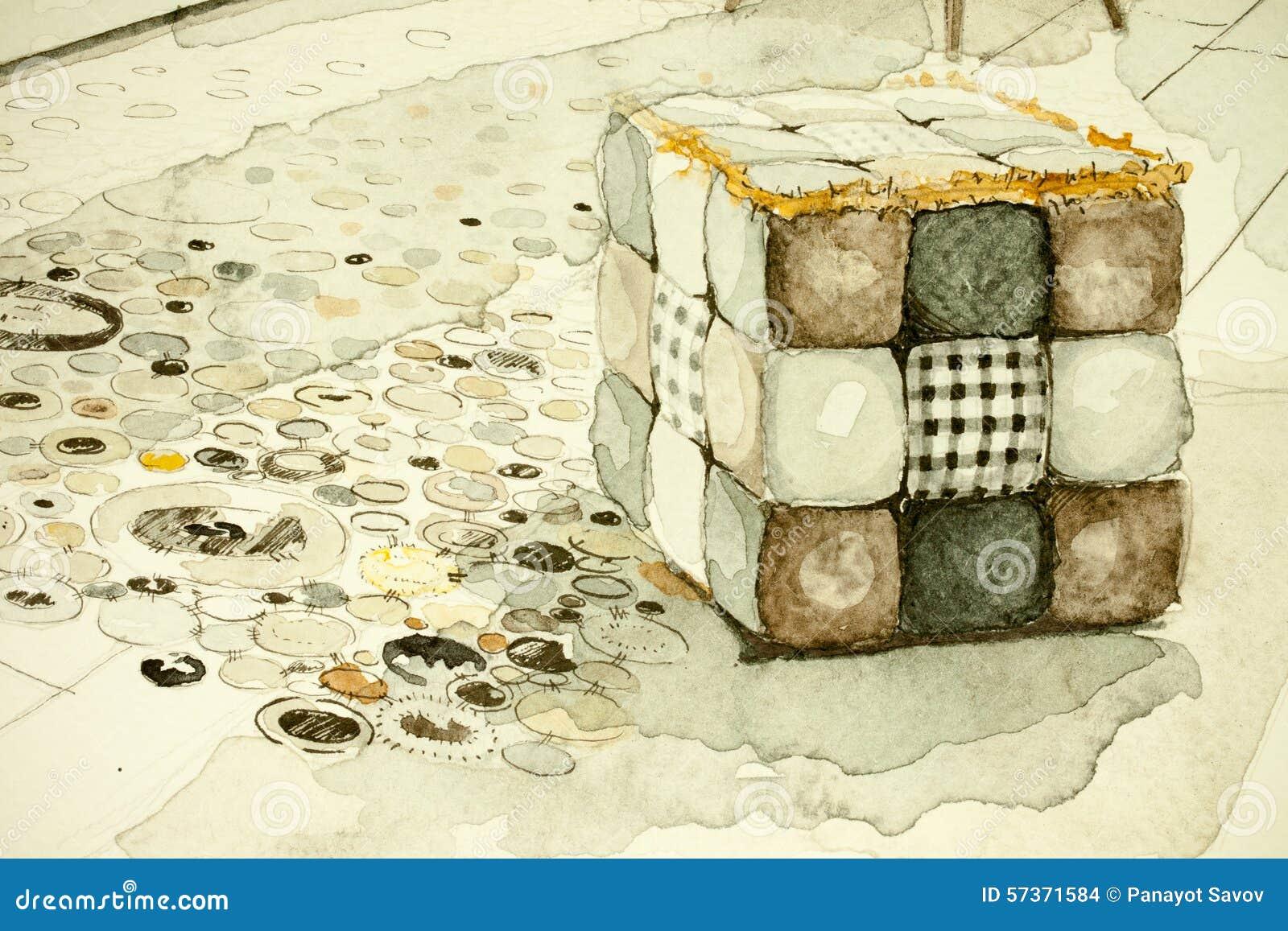 Attrayant Dessin Architectural De Perspective à Main Levée De Croquis D Encre D  Aquarelle D Aquarelle De