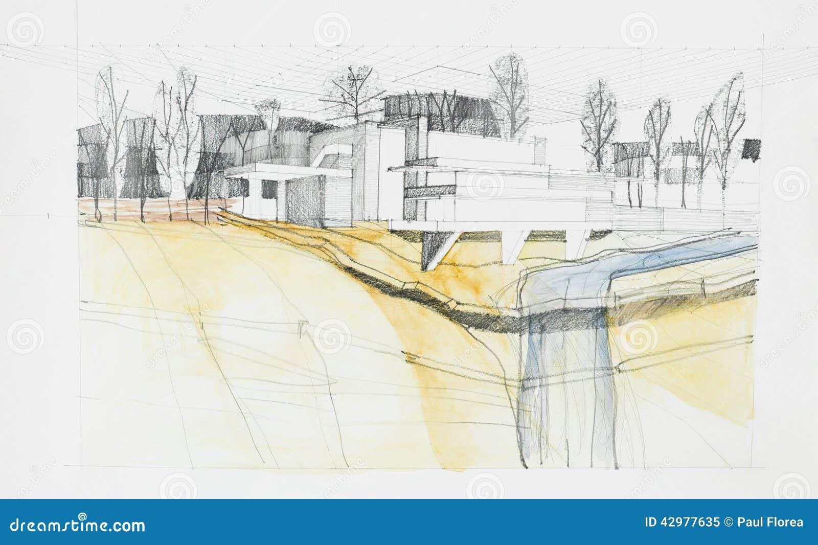 Dessin architectural du bâtiment et des environs