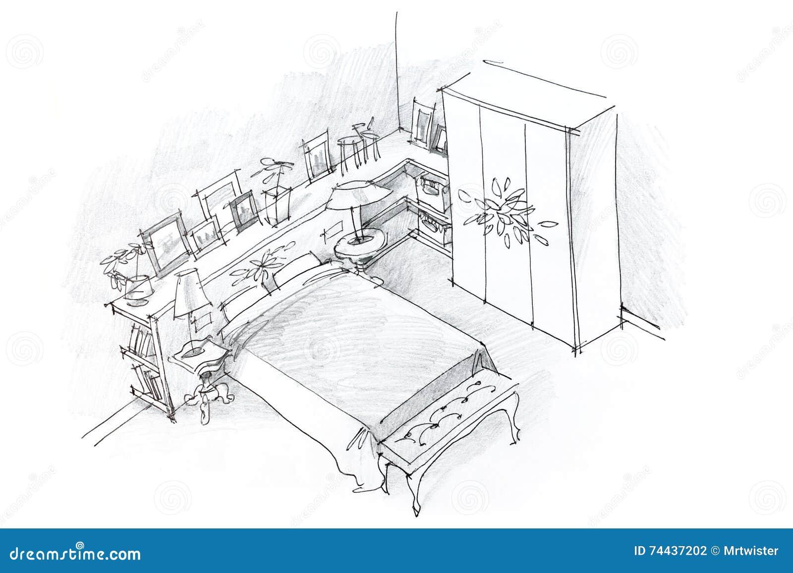 Dessin au crayon main lev e d 39 int rieur de chambre - Dormitorio en blanco y negro ...