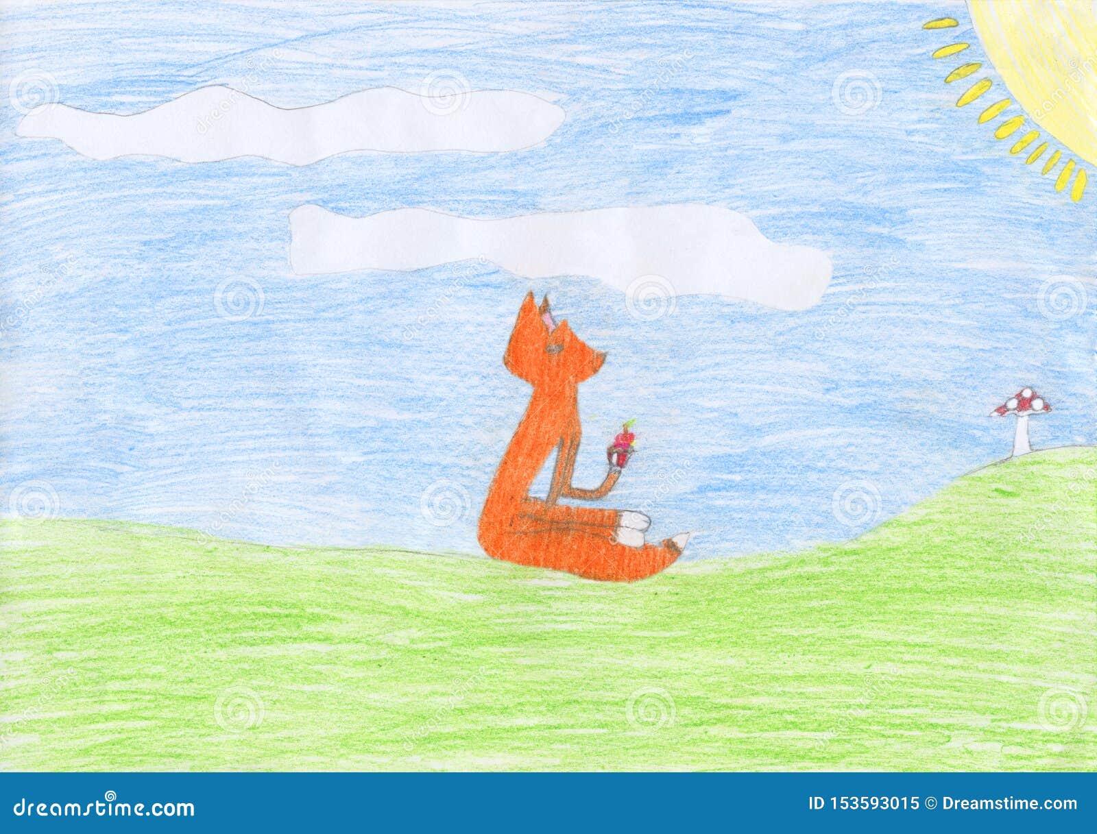 Dessin au crayon coloré par enfant d un renard mangeant un petit pain