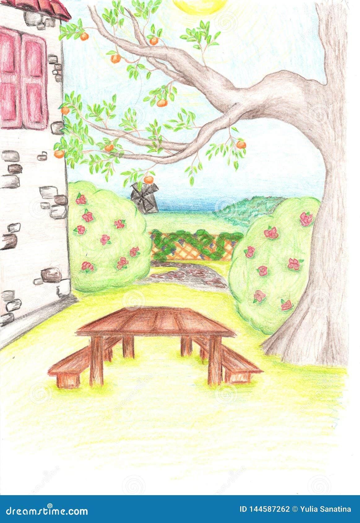 Dessin Au Crayon D Arbre Et De Maison Avec Le Petit Jardin