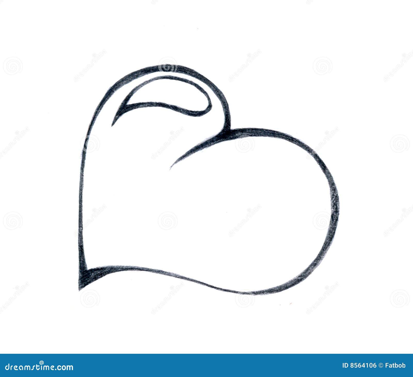 Dessin au crayon de coeur illustration stock illustration - Dessin avec des coeurs ...