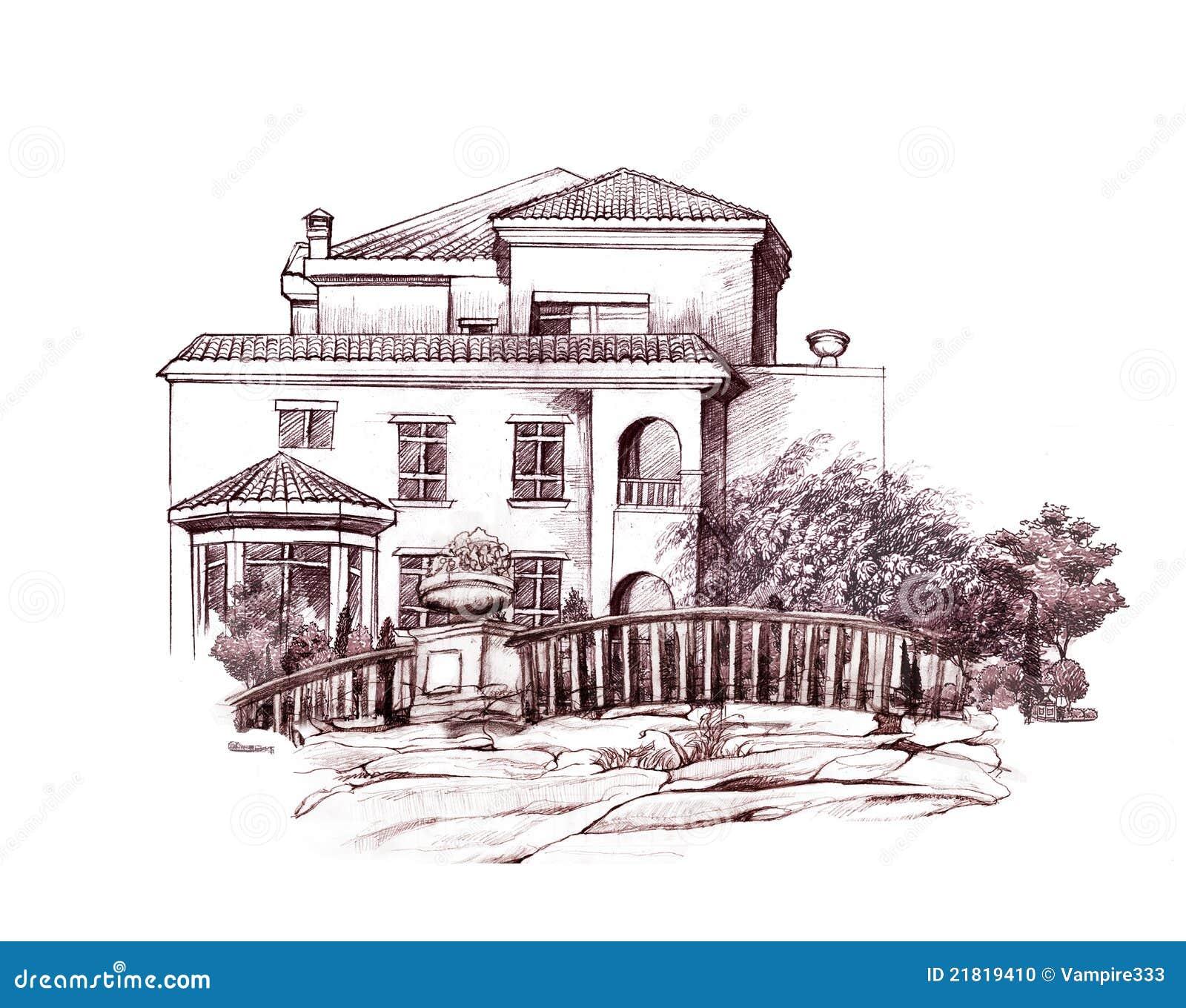 Dessin Au Crayon De Maison Et D Arbres Illustration Stock