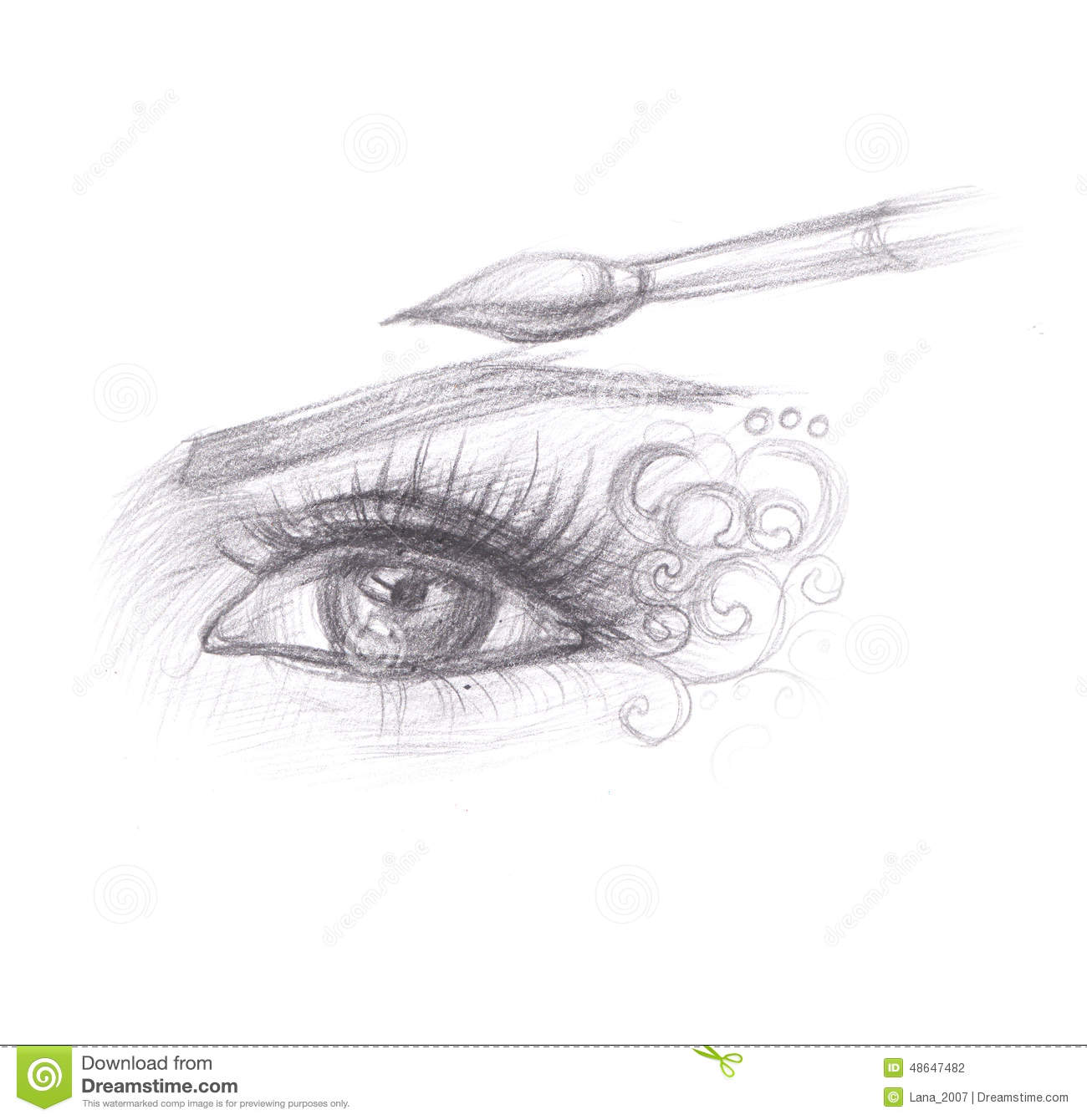 Dessin au crayon de maquillage d 39 oeil illustration stock - Maquillage simple mais beau ...
