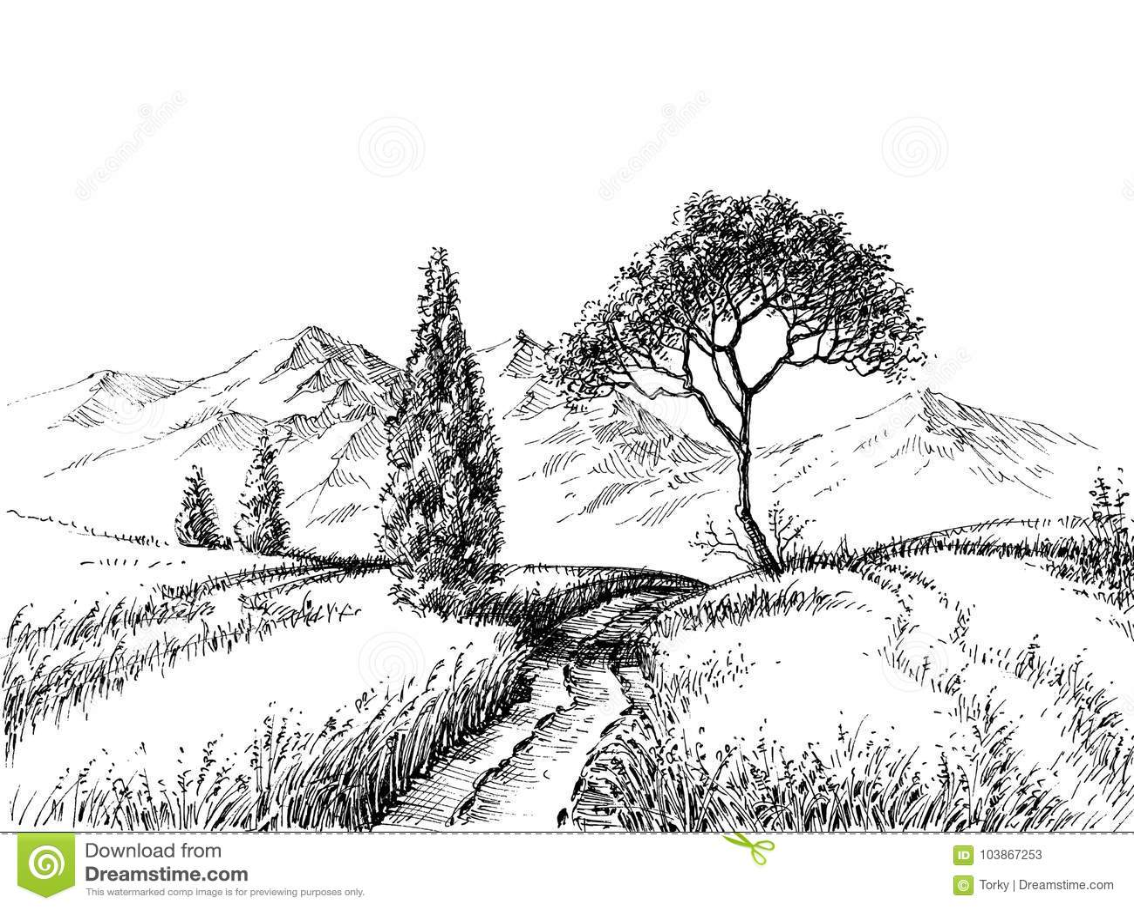 Dessin Au Crayon De Paysage De Champ Illustration De Vecteur