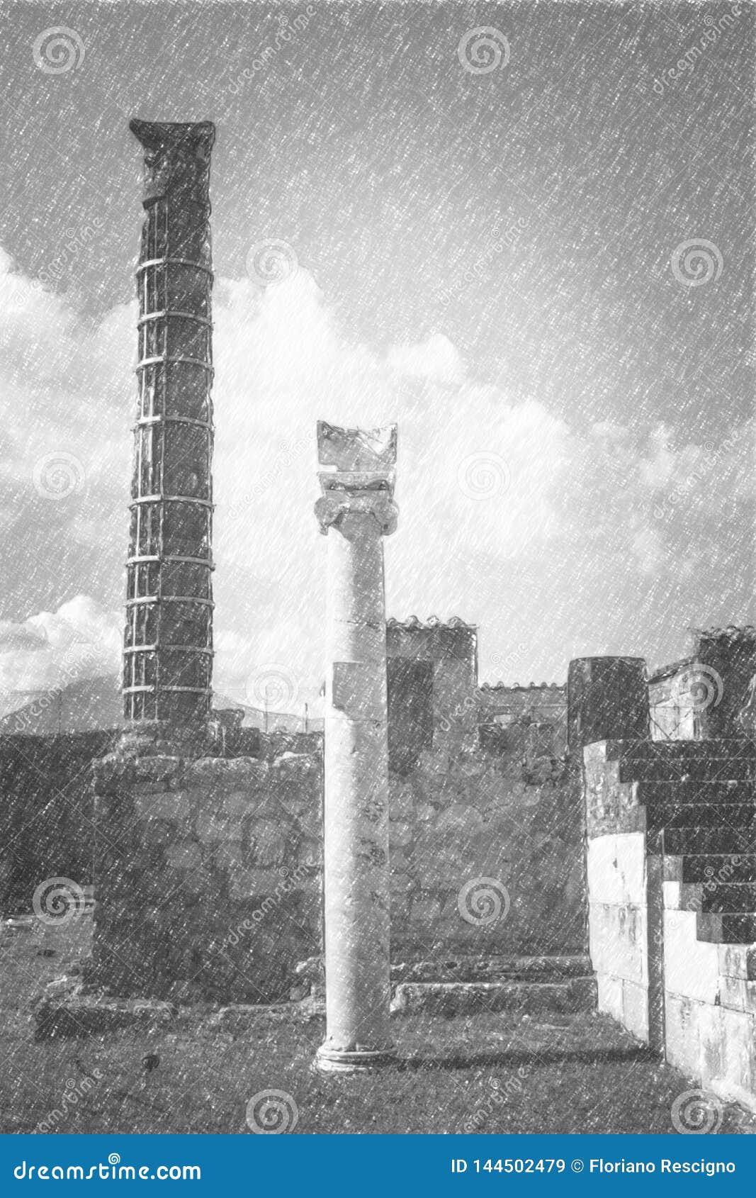 Dessin au crayon de Pompeii, statue romaine antique d Apollo