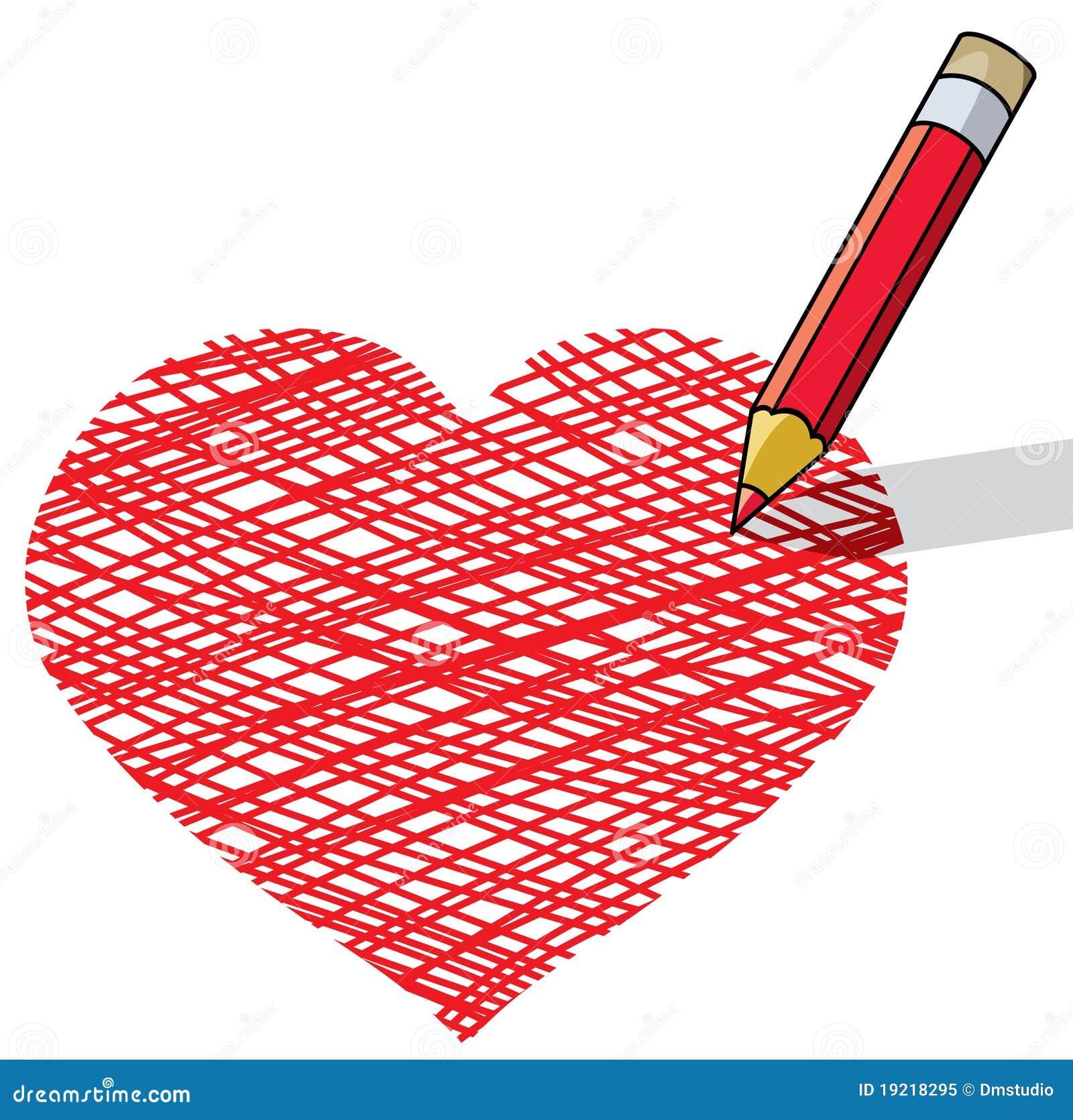 Dessin au crayon un coeur illustration de vecteur - Desin de coeur ...