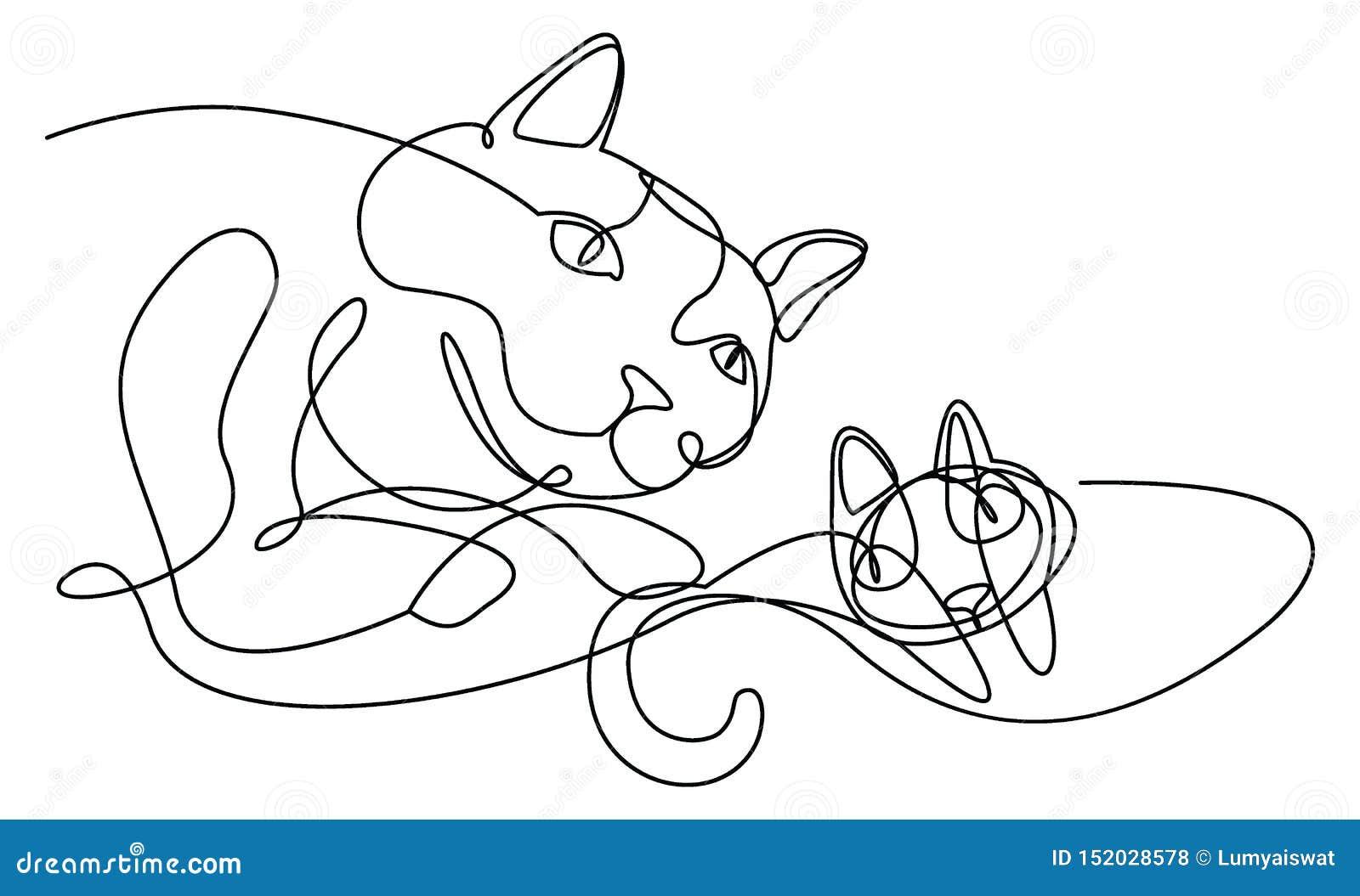 Dessin au trait continu chats moderne