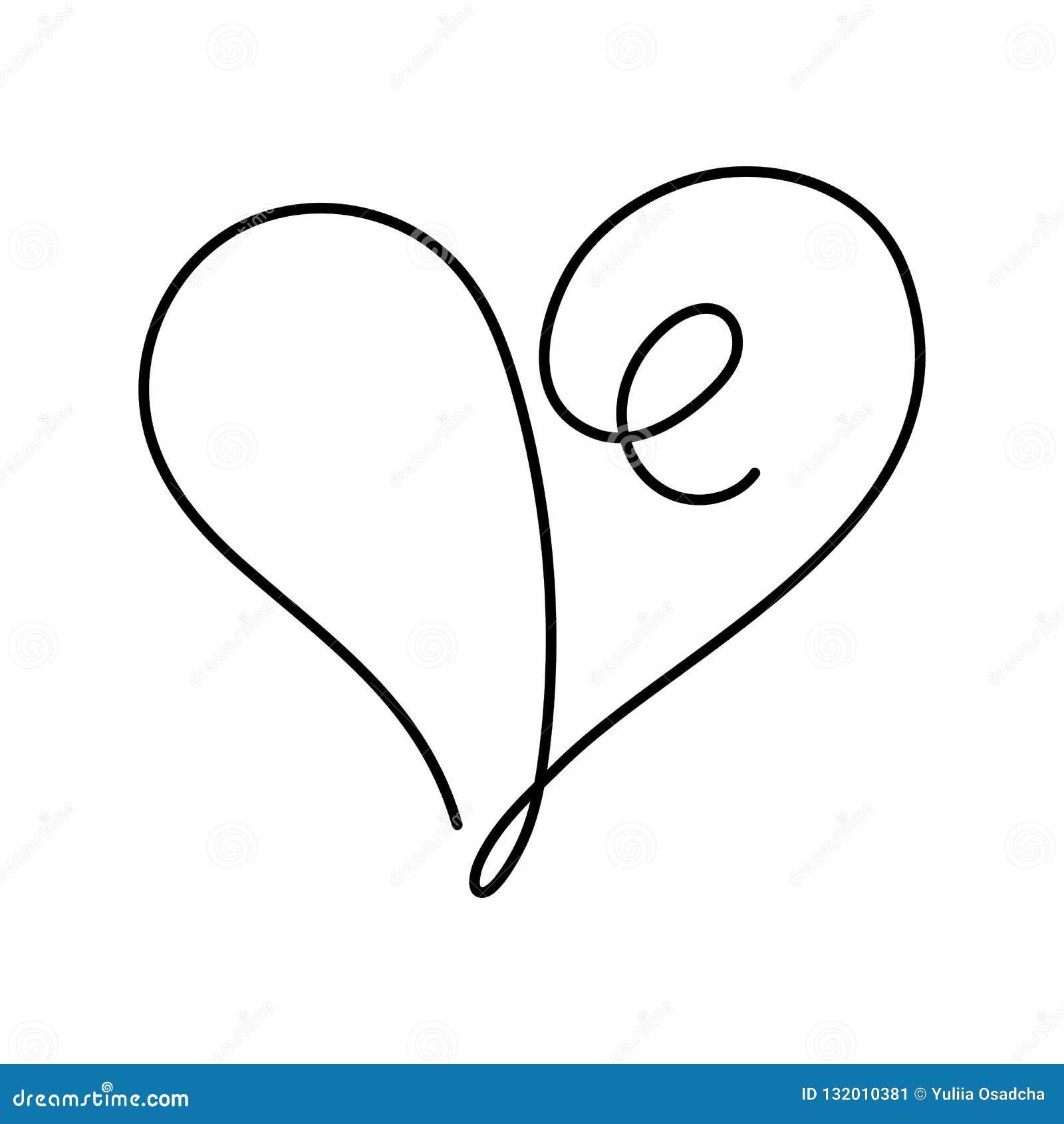 Dessin au trait continu coeur avec la course editable dans l illustration de vecteur