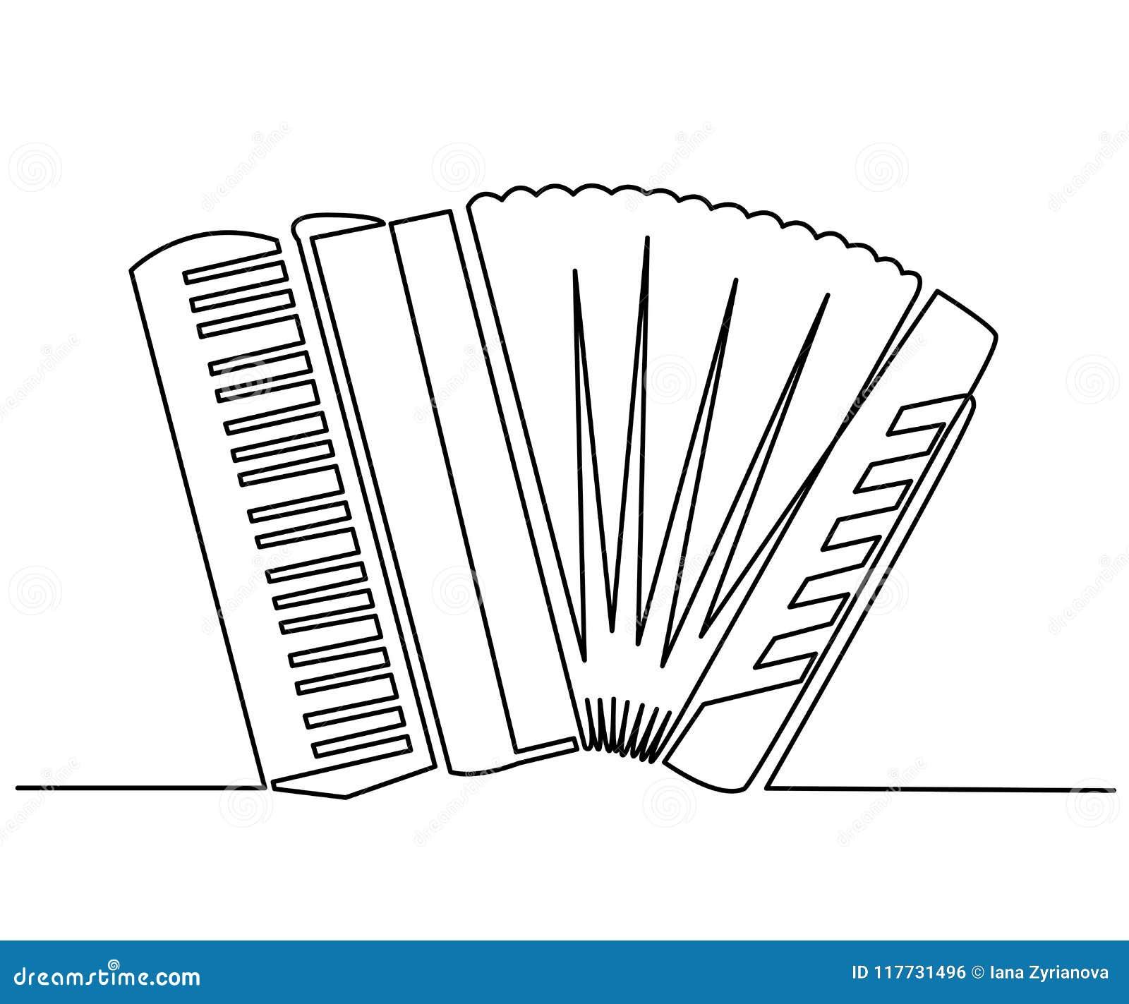 Dessin Accordéon dessin au trait continu d'accordéon de classique de vecteur