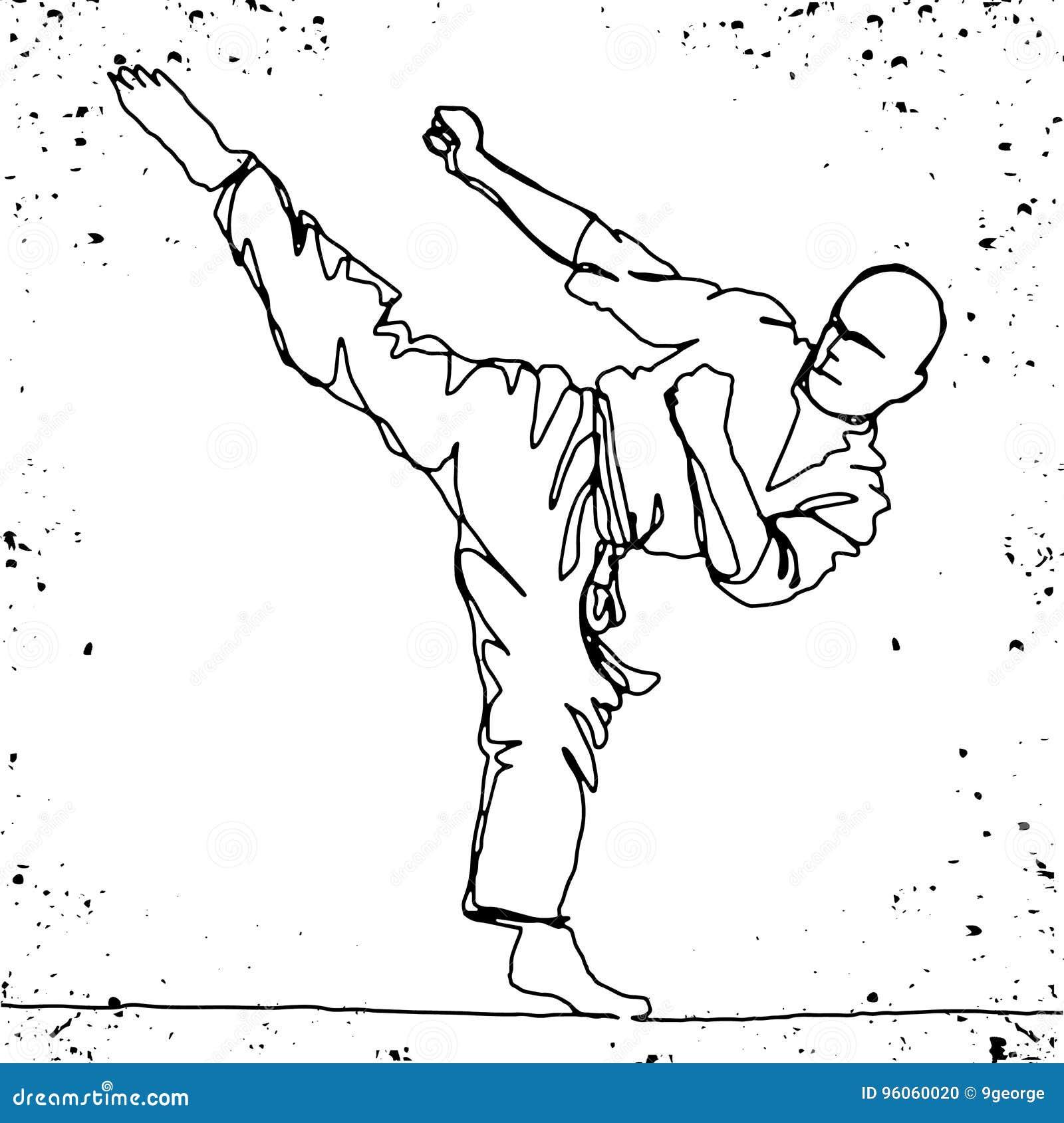 Dessin au trait continu d athlète de karaté