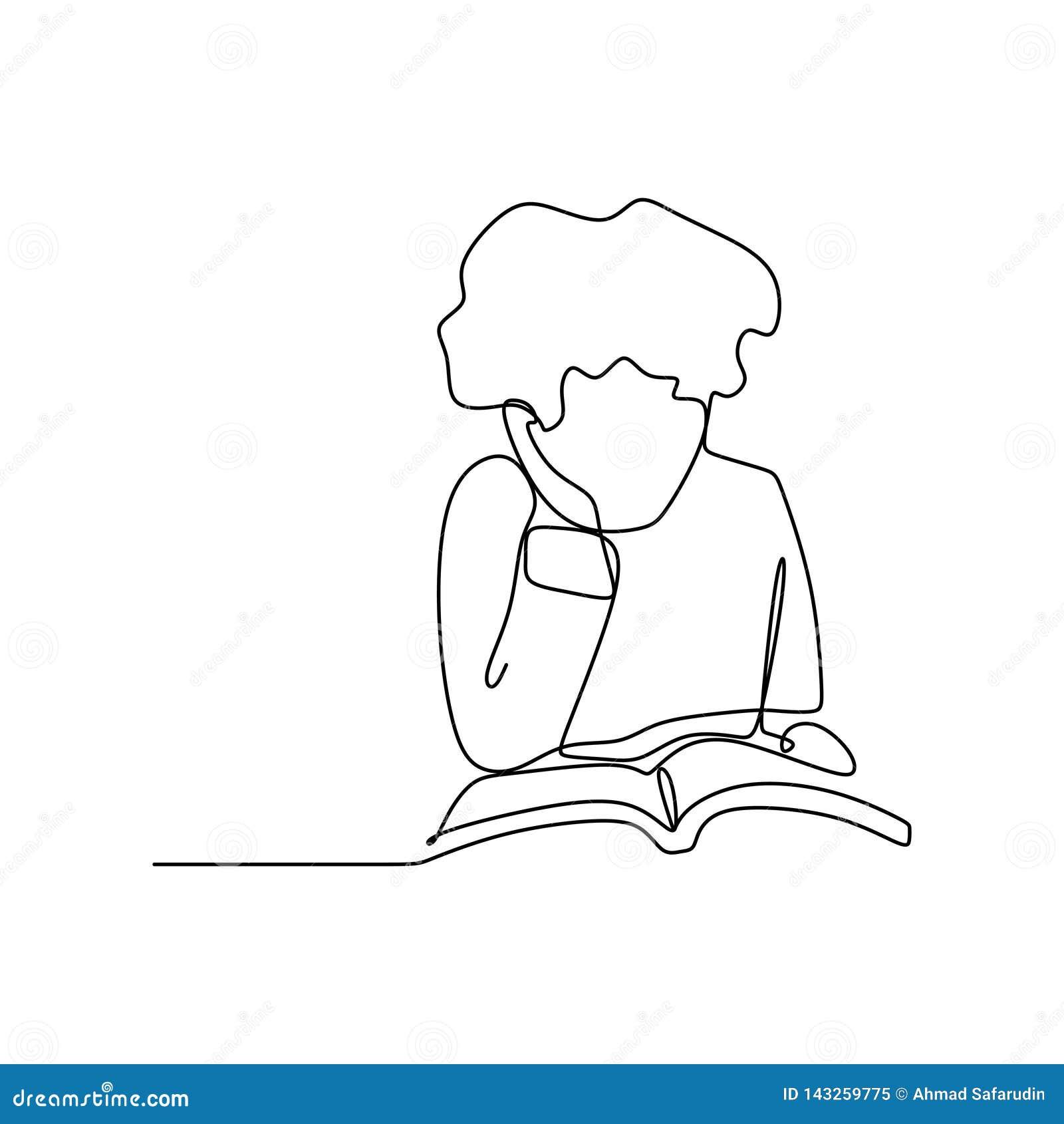 Dessin Au Trait Continu D Un Enfant Lisant Un Livre