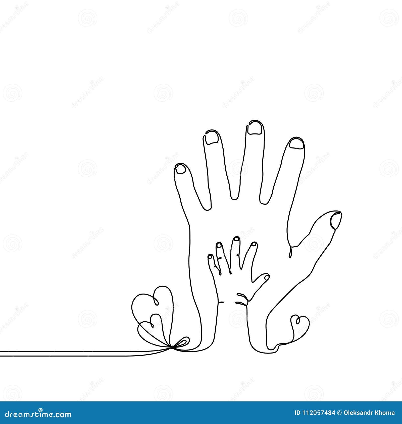 Dessin au trait continu d 39 une main d 39 enfant de b b sur la - Dessin main enfant ...
