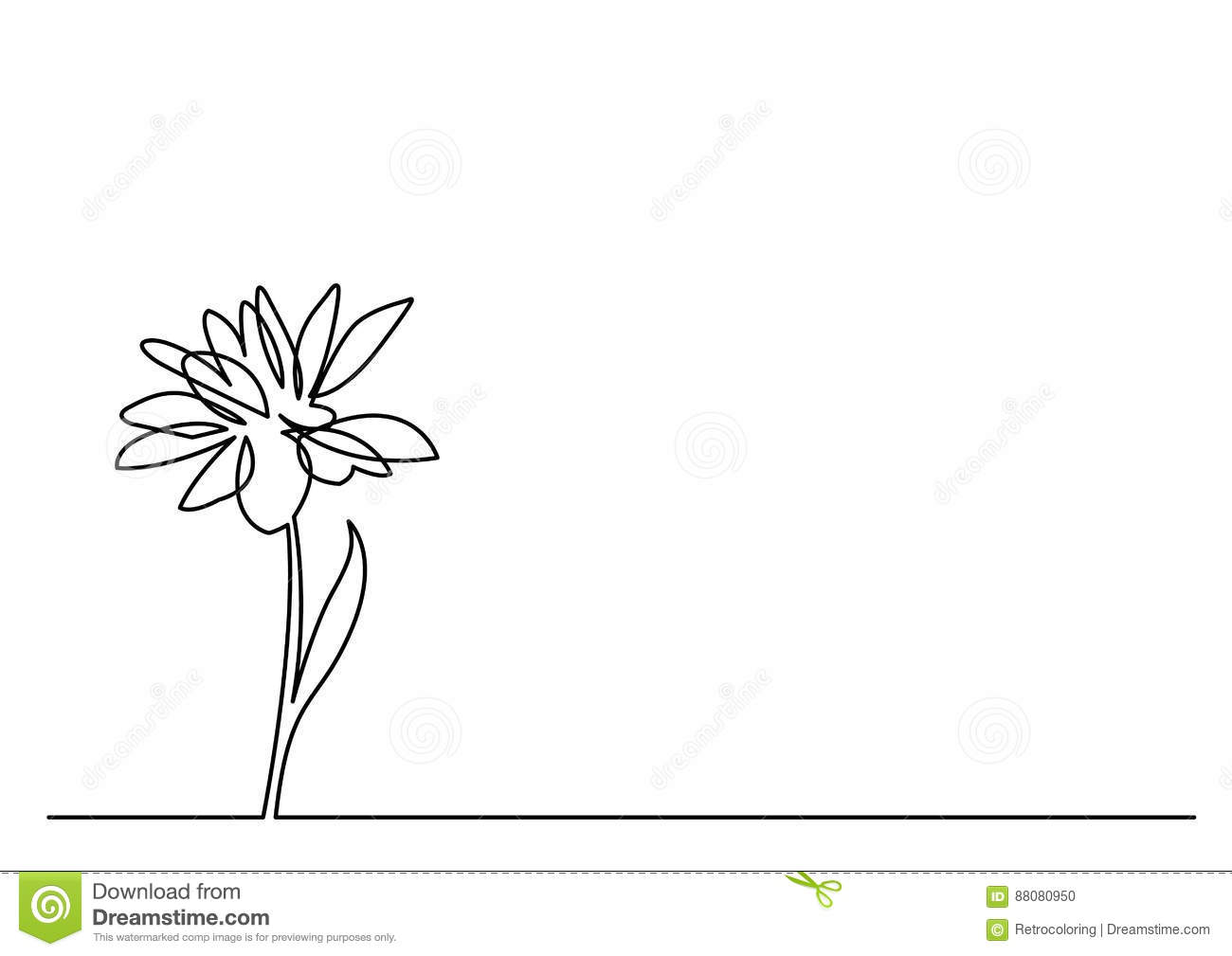 Dessin Au Trait Continu De Belle Fleur Illustration De