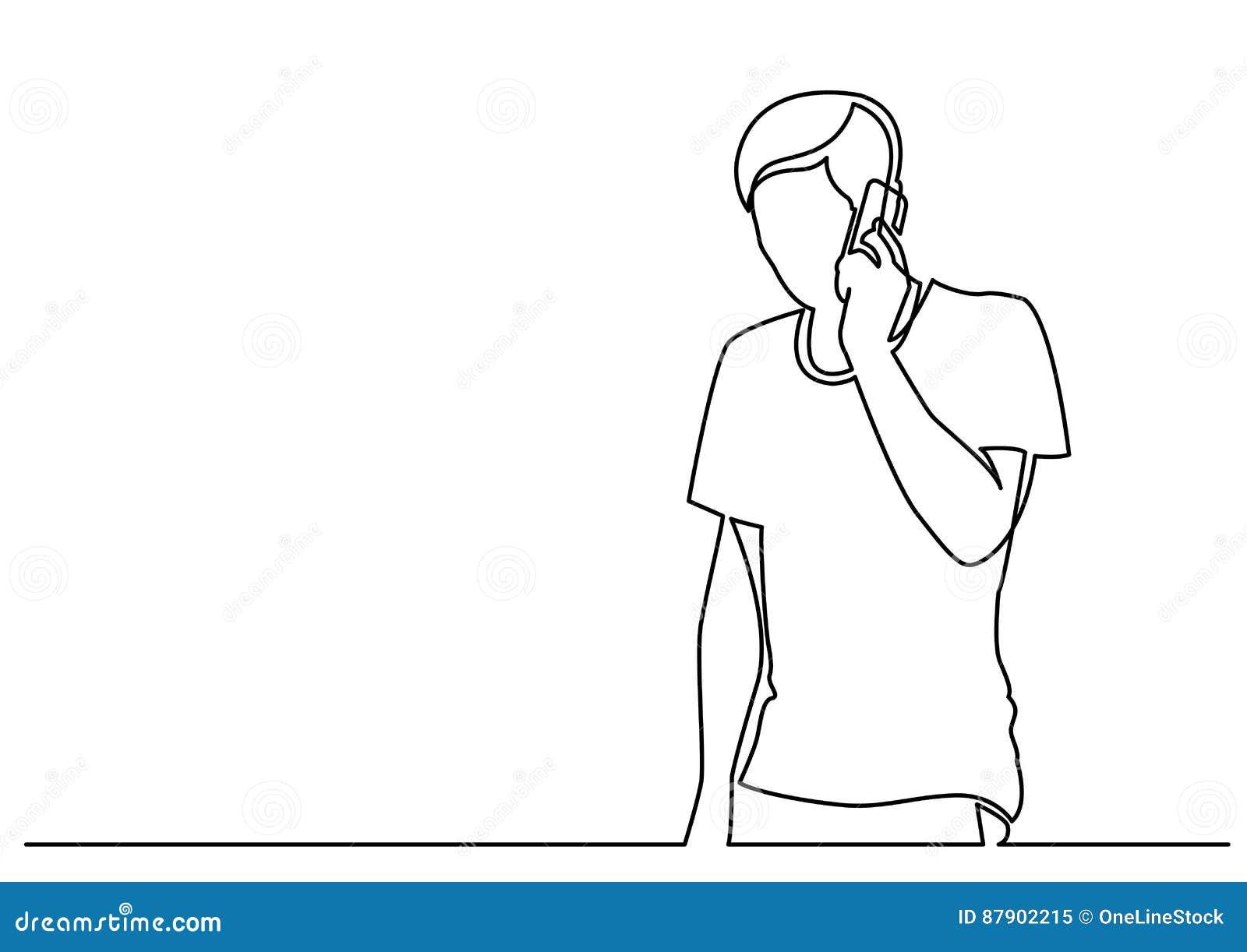 Dessin Au Trait Continu De Jeune Homme Parlant Au Téléphone