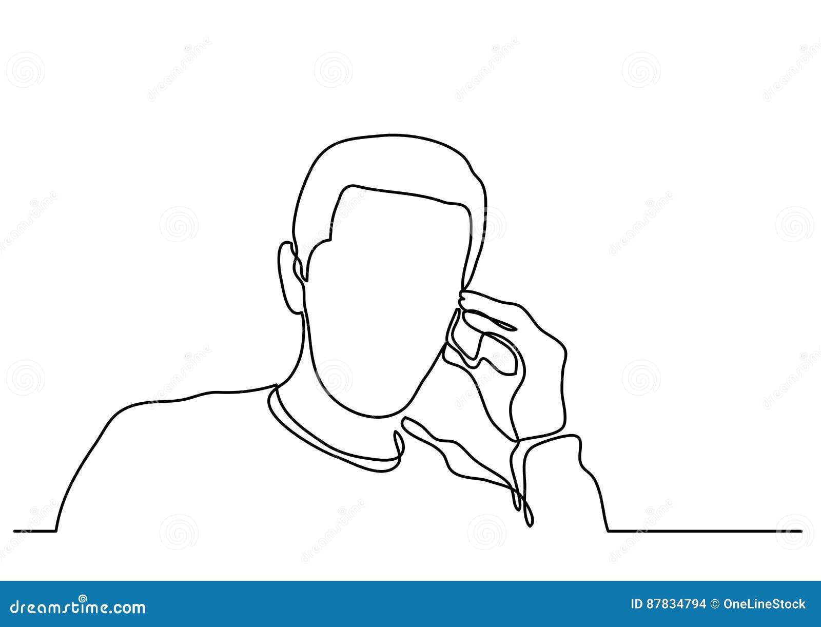 Dessin Au Trait Continu De L Homme Parlant Au Téléphone