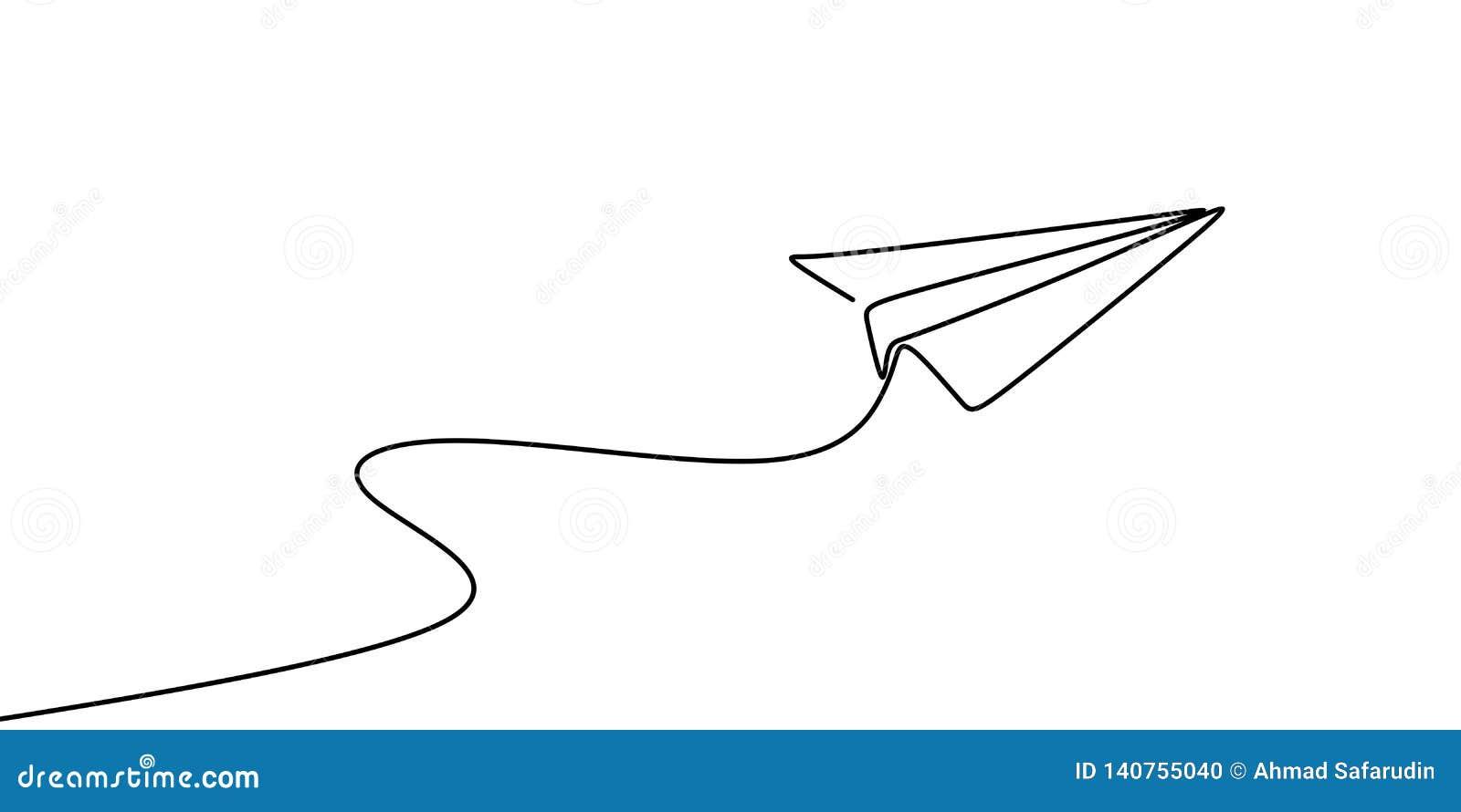 Dessin au trait continu de l illustration de papier de vecteur plat