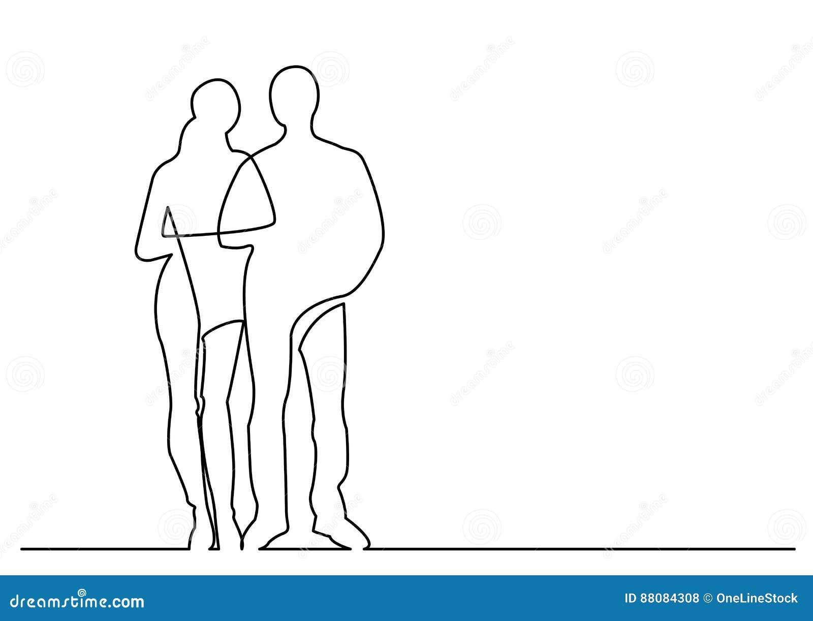Dessin Au Trait Continu De La Jeune Position De Couples